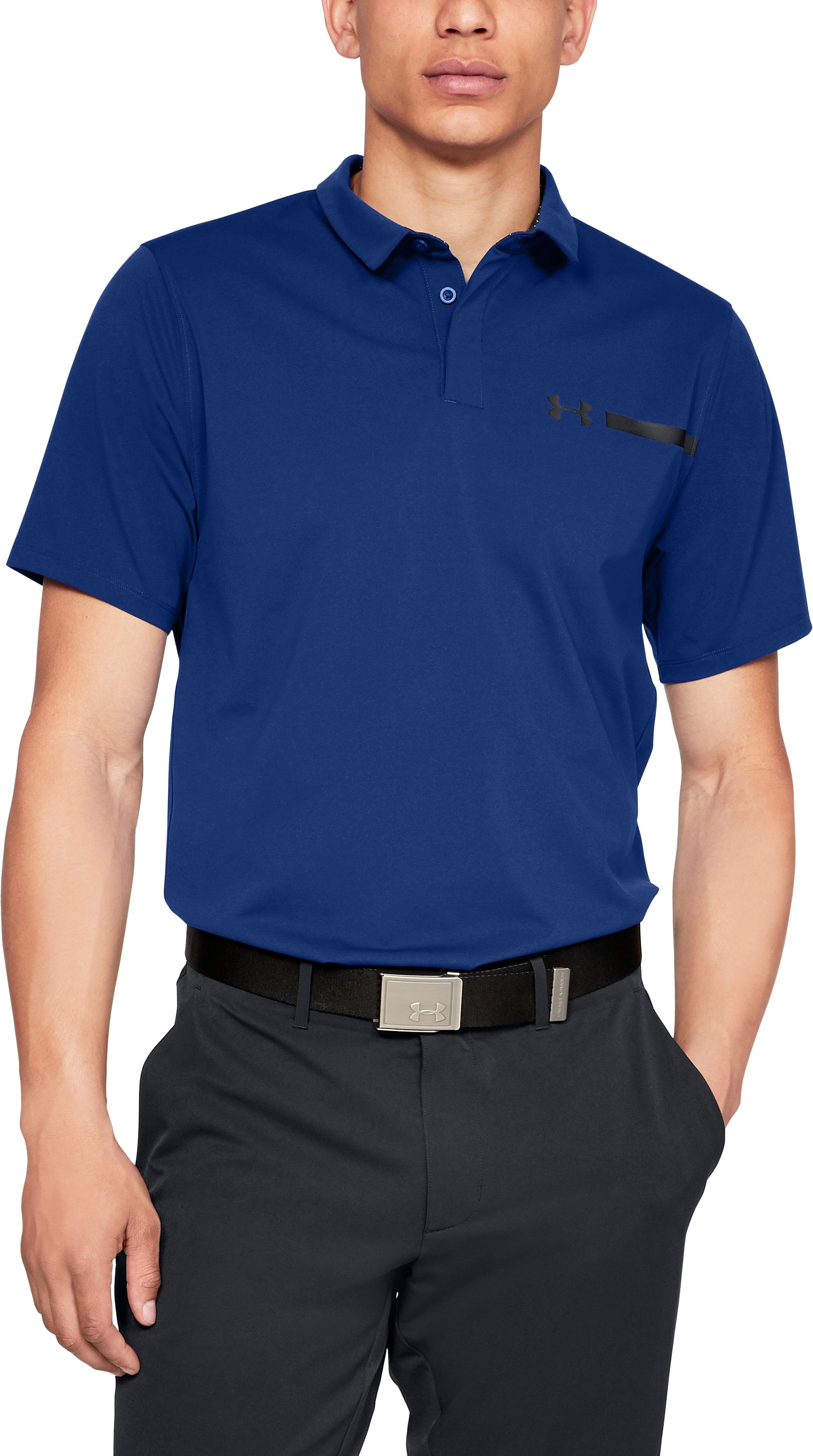 Men's UA Perpetual Woven Polo, FORMATION BLUE