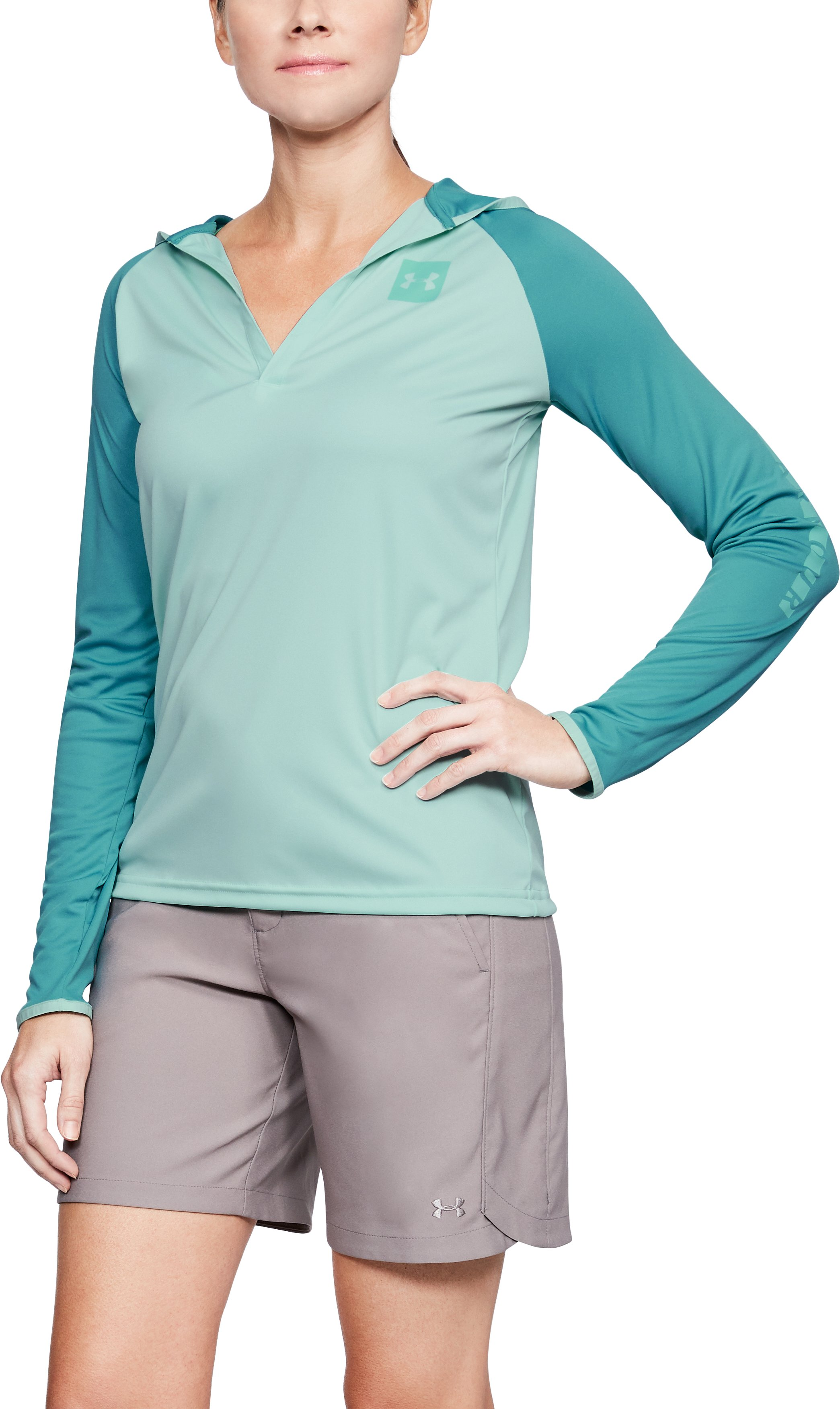 Women's UA Fish Hunter Tech Popover, REFRESH MINT