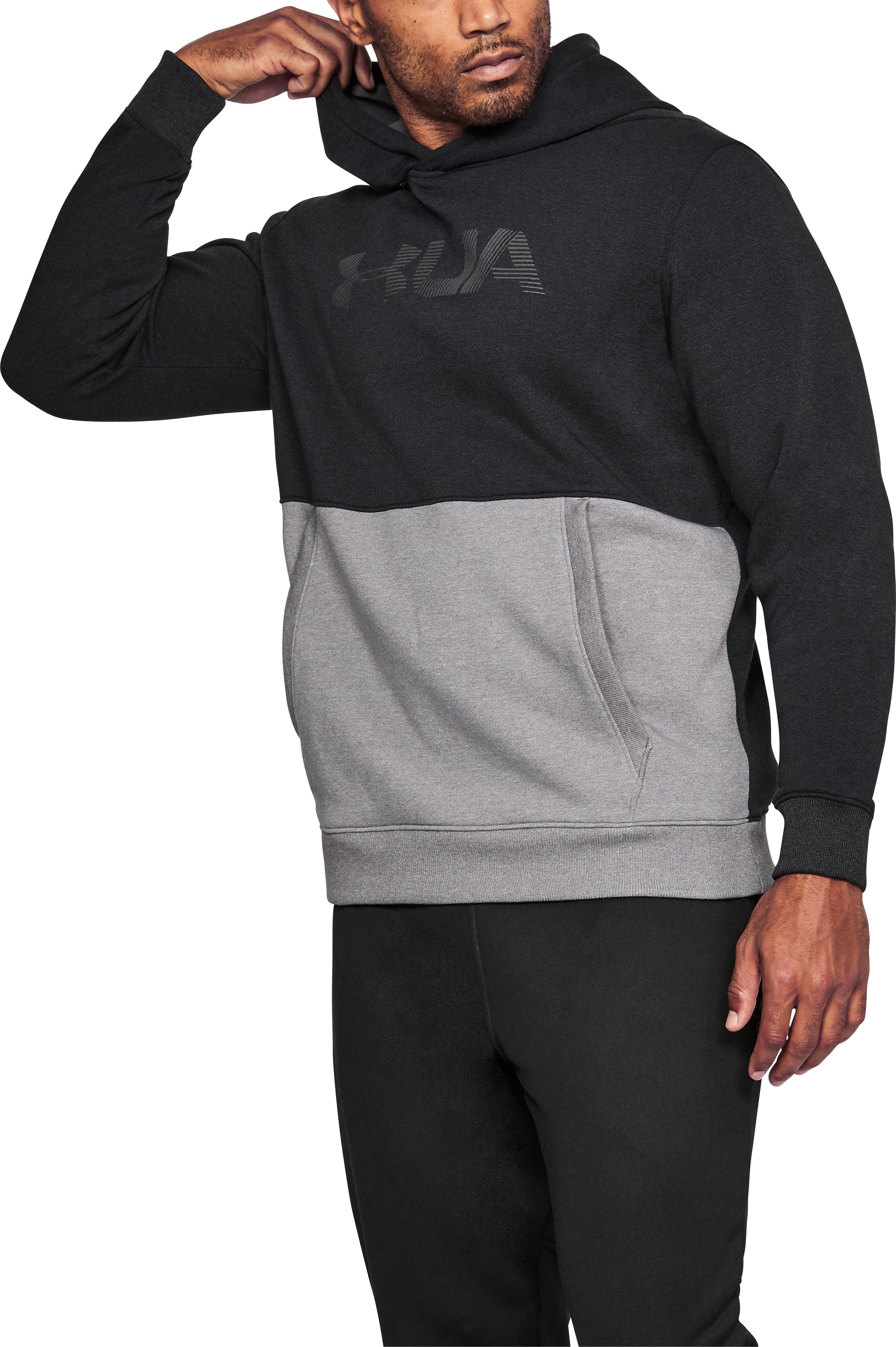Men's UA Microthread Fleece Hoodie, Black