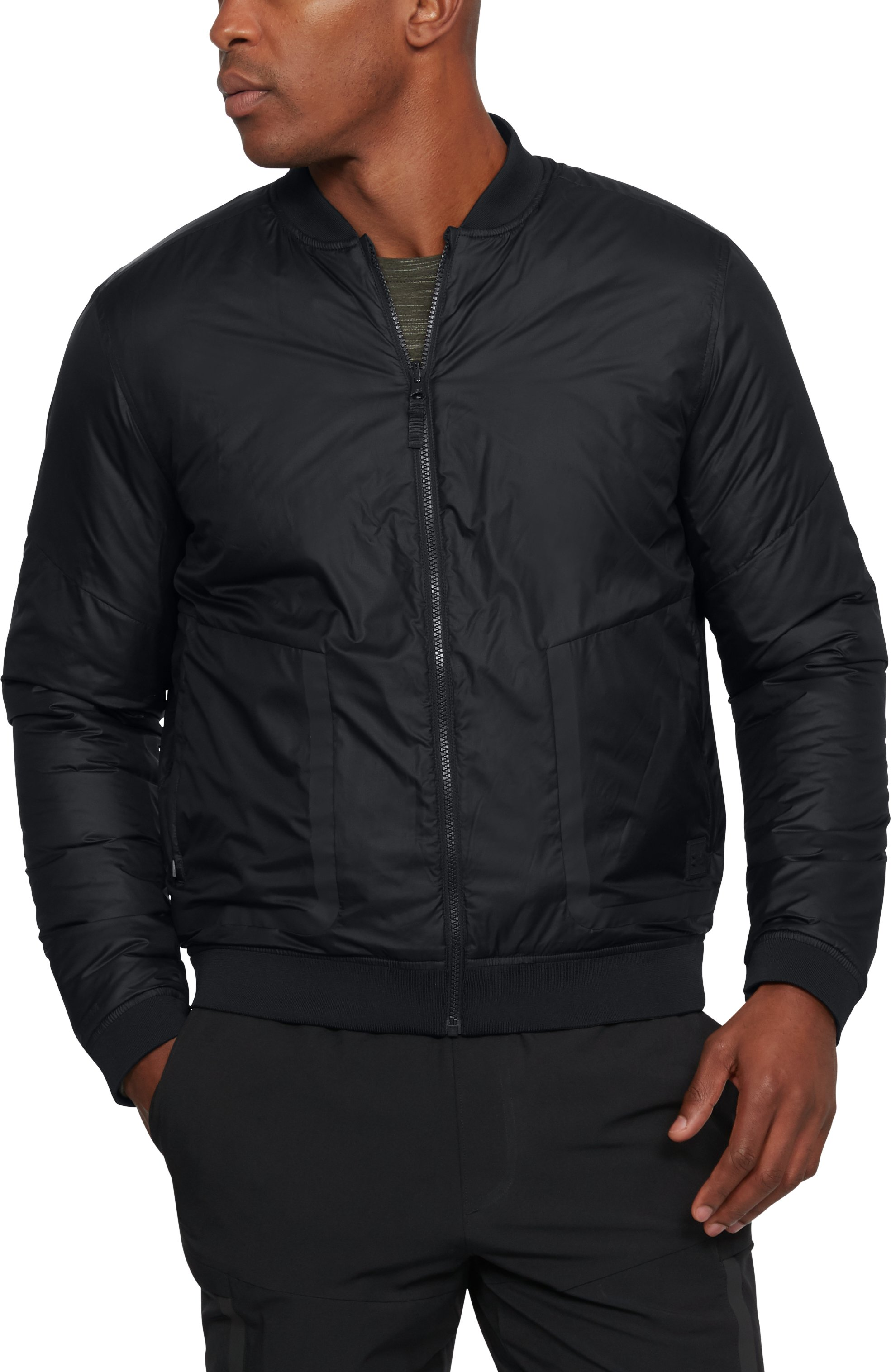 black bomber jackets Men's UA Sportstyle ColdGear® Reactor Bomber Jacket The jacket is very easy and light.