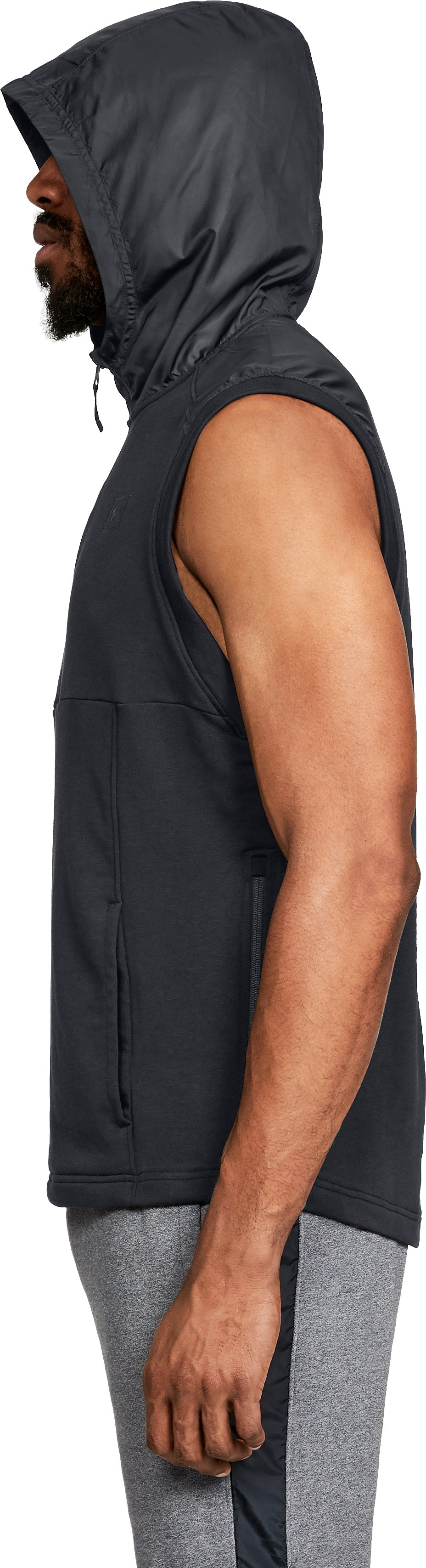 Men's UA Microthread Terry Sleeveless Hoodie, Black ,