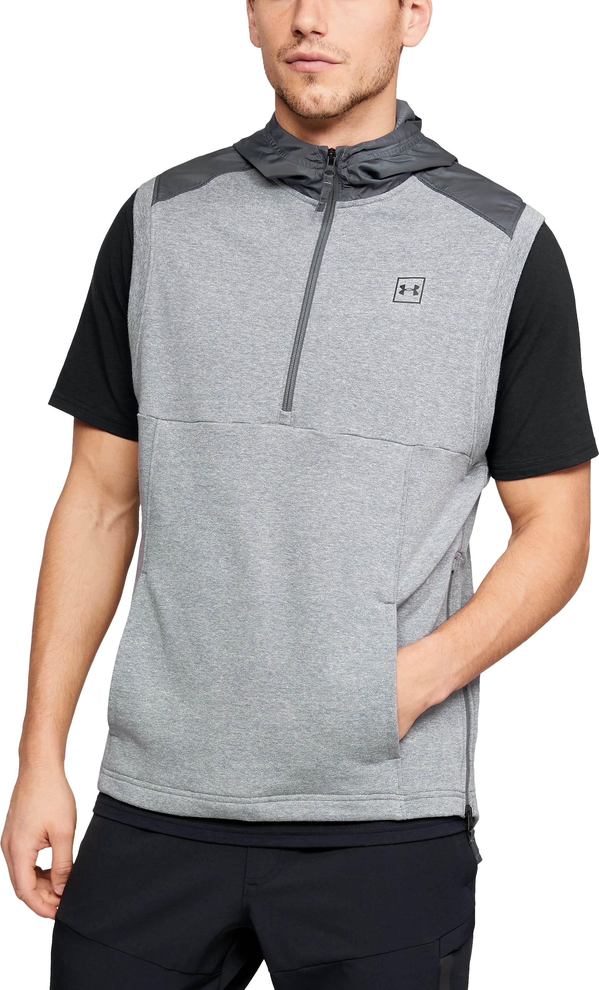 Men's UA Microthread Terry Sleeveless Hoodie, STEEL LIGHT HEATHER