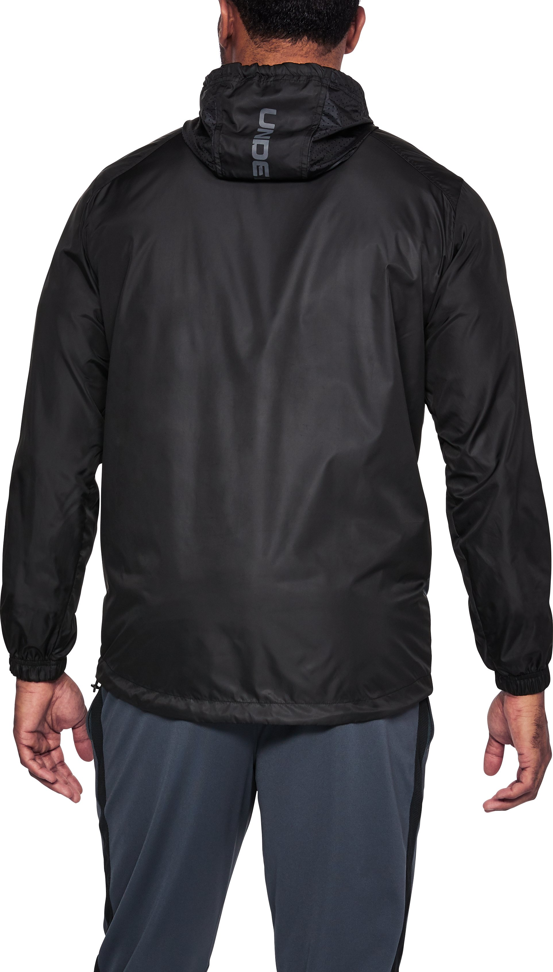 Men's UA Sportstyle Windbreaker Jacket, Black , undefined