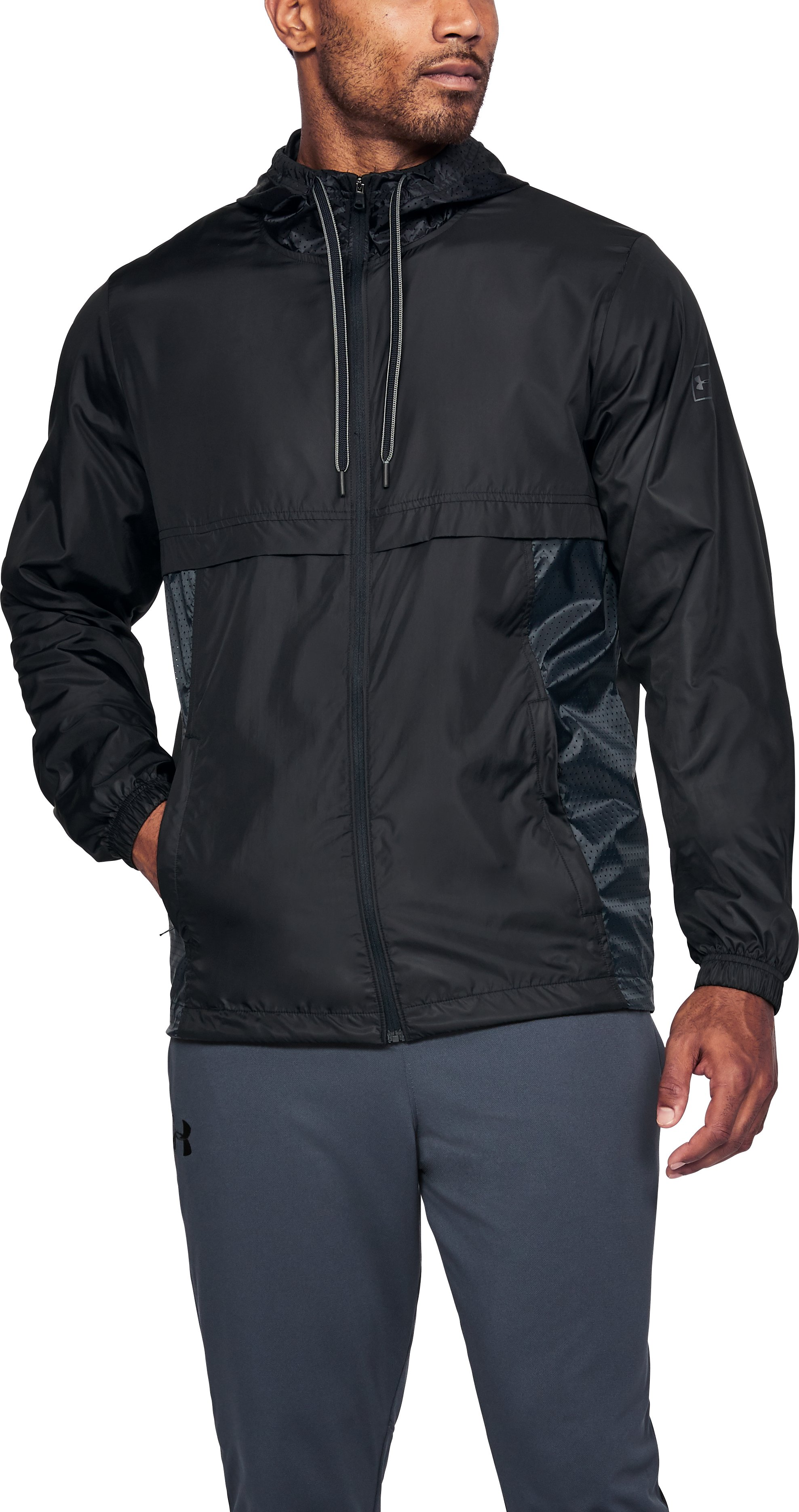 Men's UA Sportstyle Windbreaker Jacket, Black