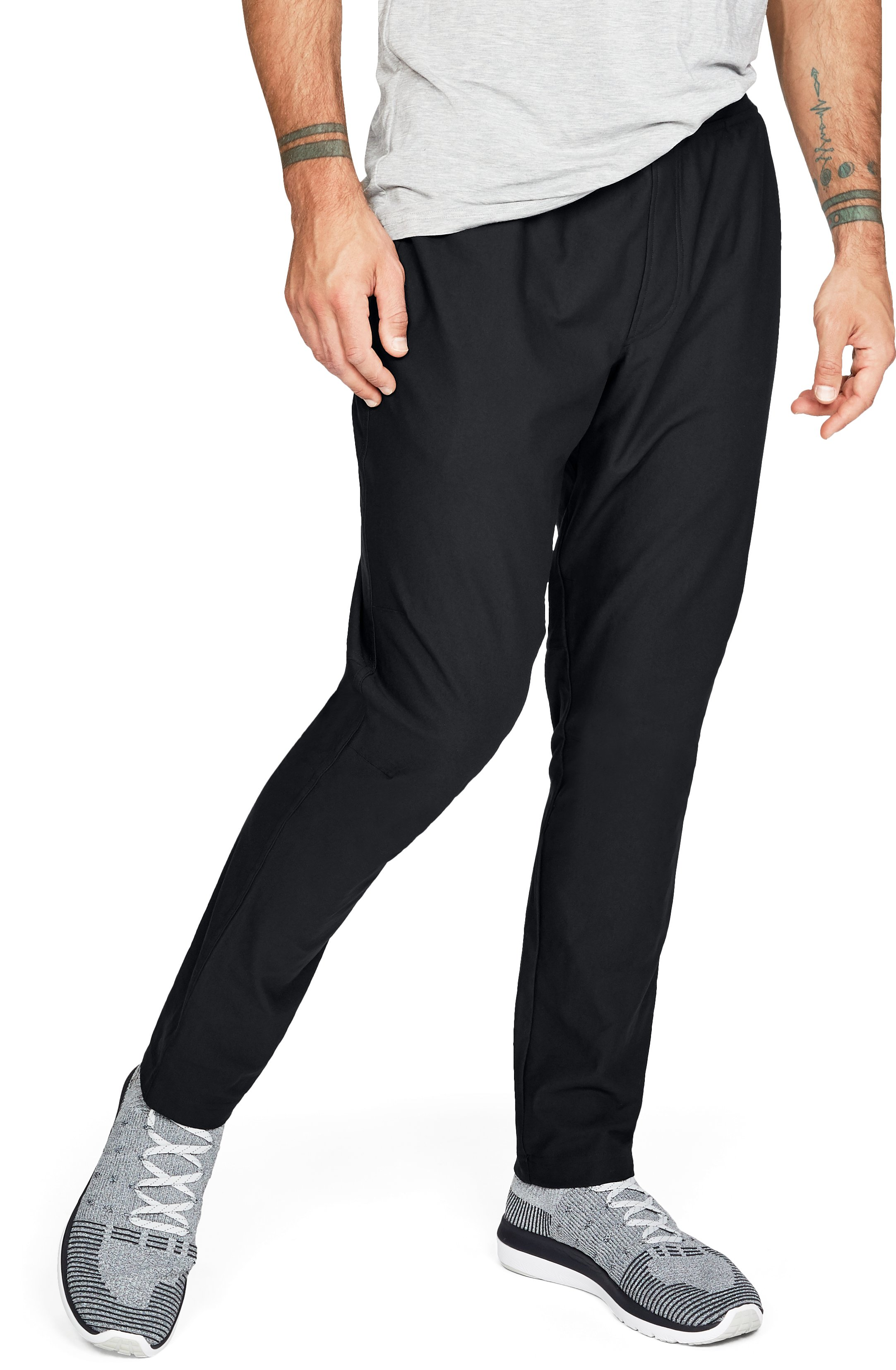 black track pants Men's Athlete Recovery Track Pants These are very comfortable and are my new favorite pant to wear, whether it's just around the house or going out on those more casual days....I like them so much I just purchased the Athlete Recovery pants for sleeping!...I like these a lot, though the recovery sleep wear line is more comfortable.