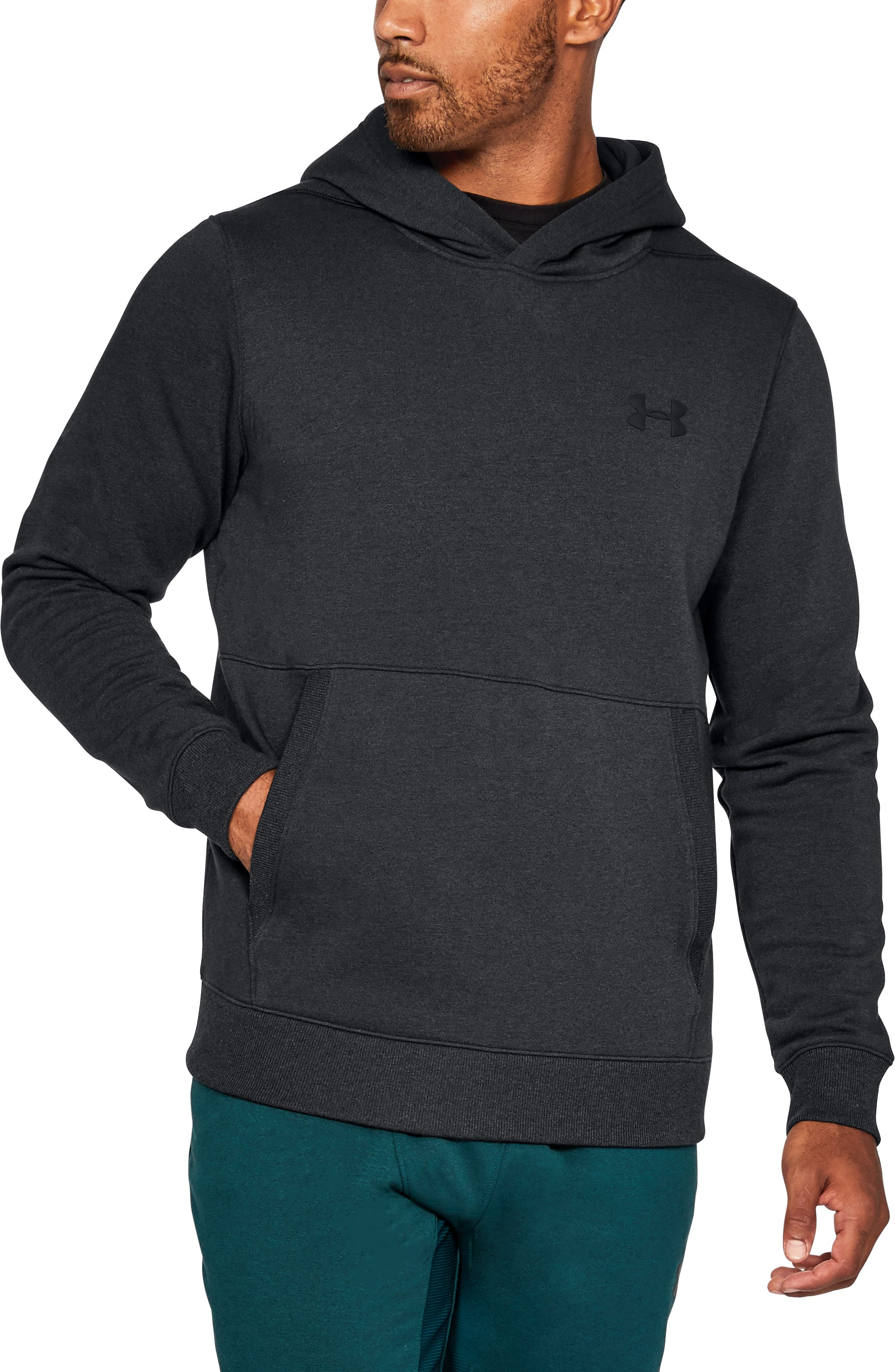 Men's UA Threadborne™ Fleece Hoodie, Black , undefined
