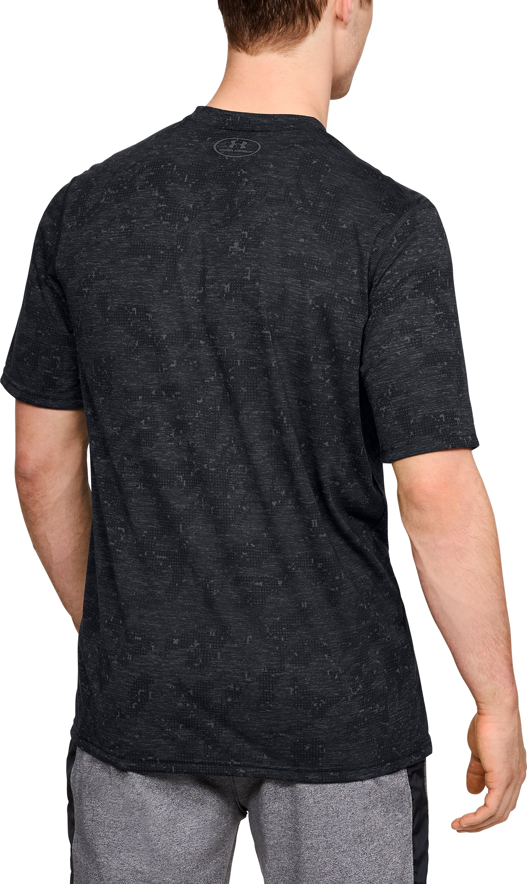 Men's UA Siro Printed V-Neck T-Shirt, Black , undefined