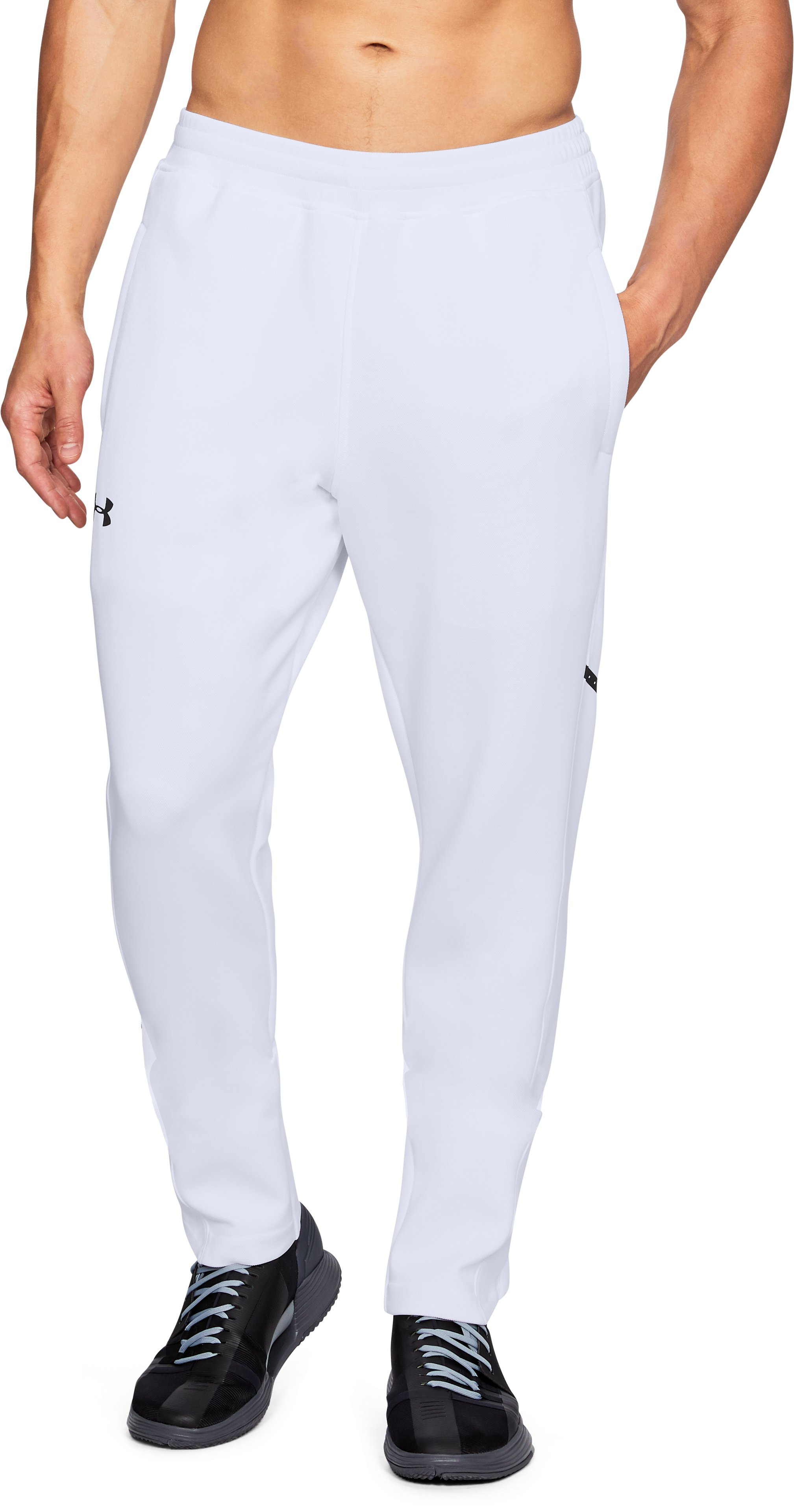 Men's UA Forge Warm Up Pants, White,