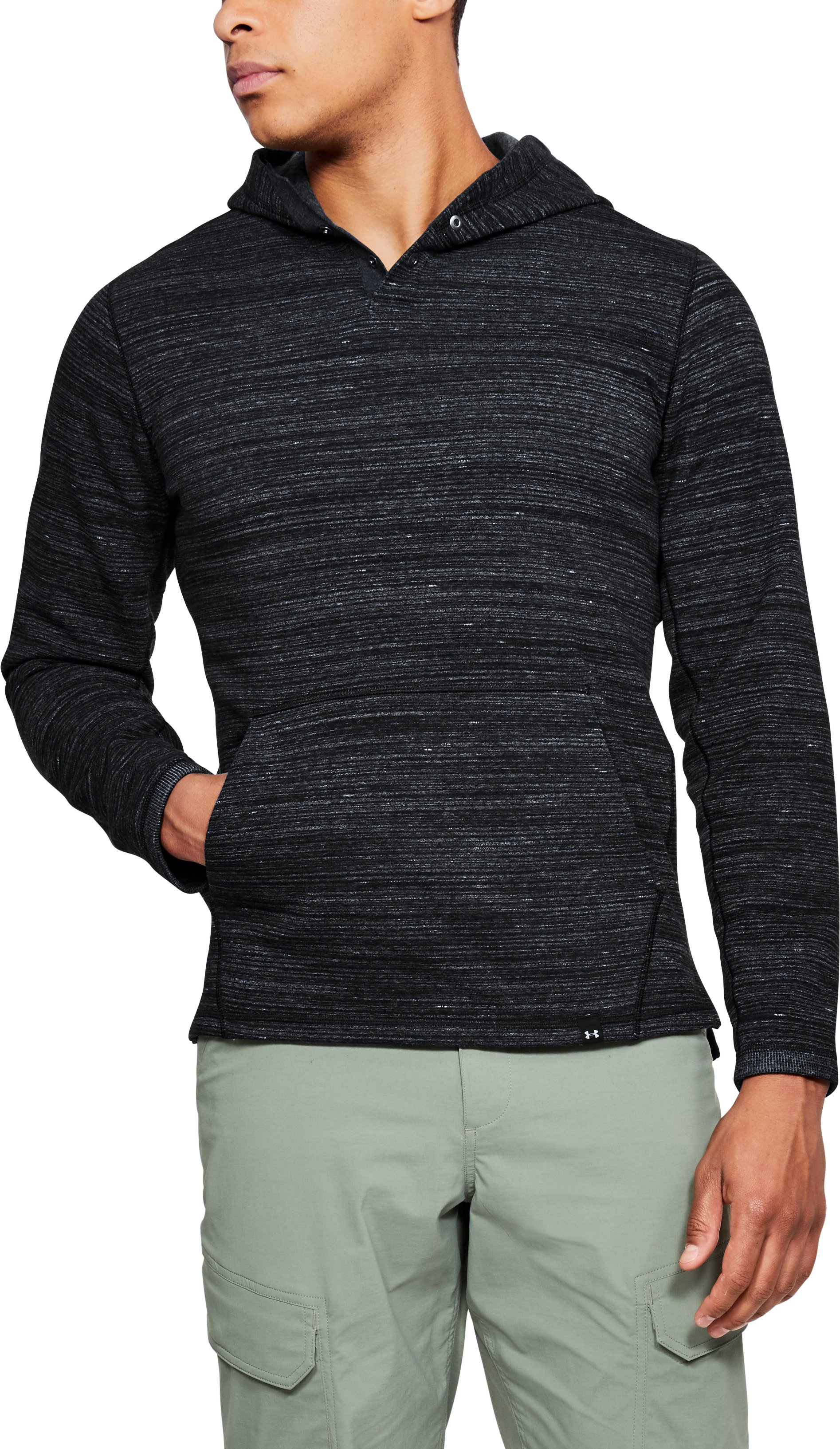Men's UA Microthread Fleece Popover, Black
