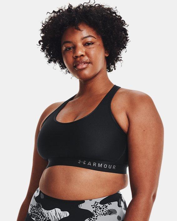 Women's Armour®Mid Sports Bra, Black, pdpMainDesktop image number 4