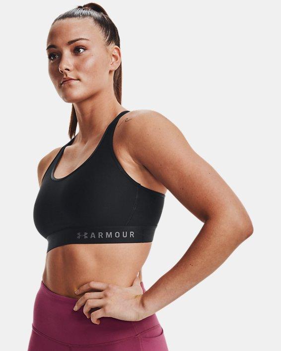Women's Armour®Mid Sports Bra, Black, pdpMainDesktop image number 3