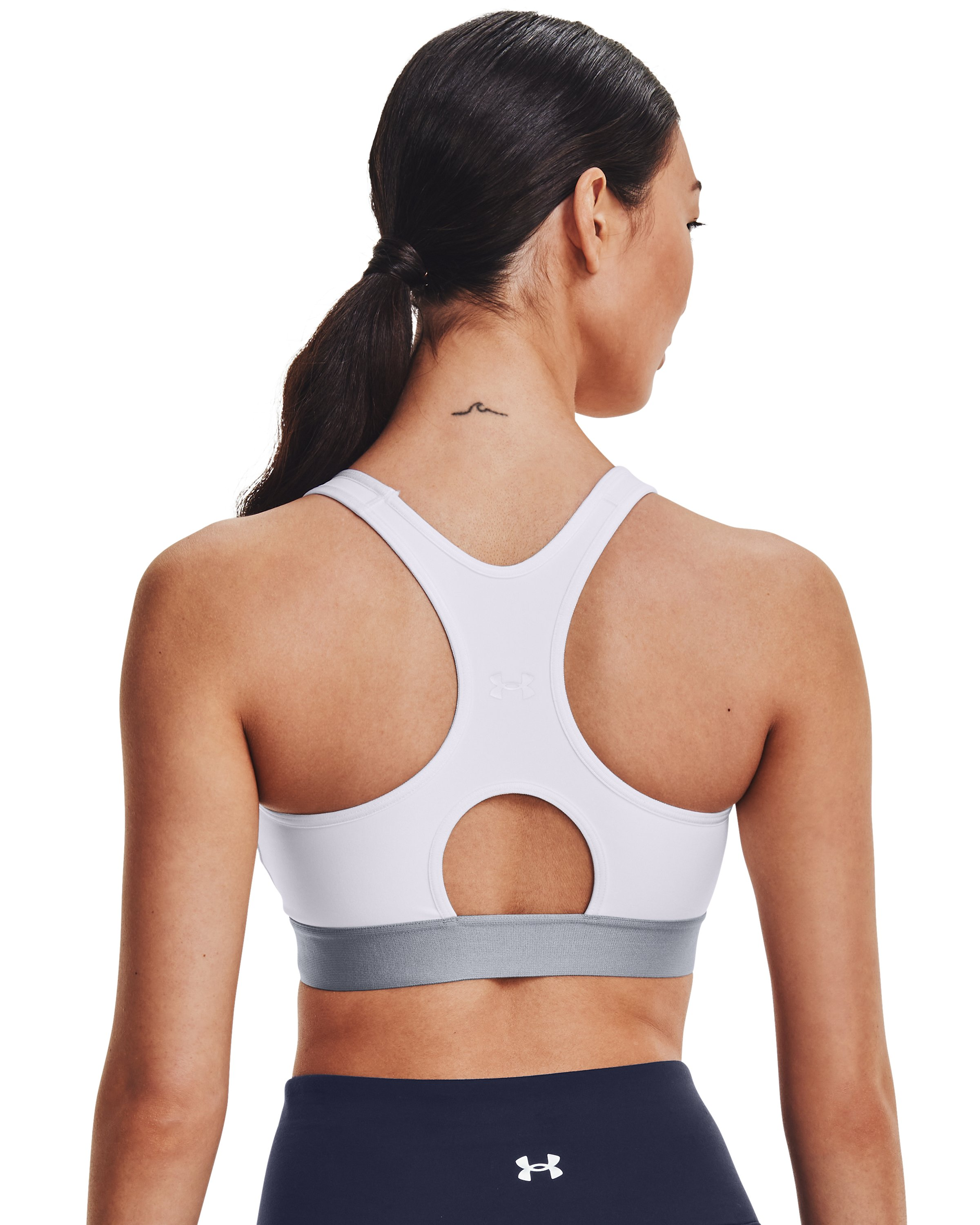 Women's Armour® Mid Sports Bra, White,