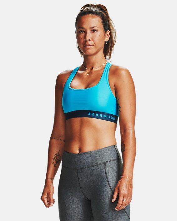 Women's Armour® Mid Crossback Sports Bra, Blue, pdpMainDesktop image number 0