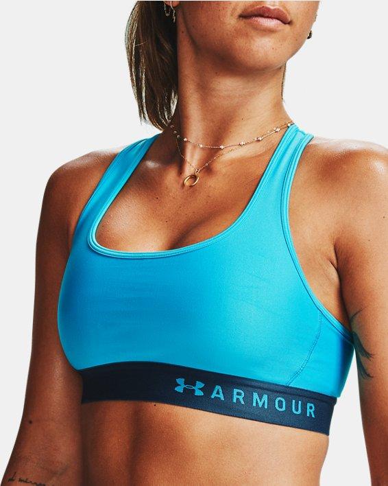 Women's Armour® Mid Crossback Sports Bra, Blue, pdpMainDesktop image number 5