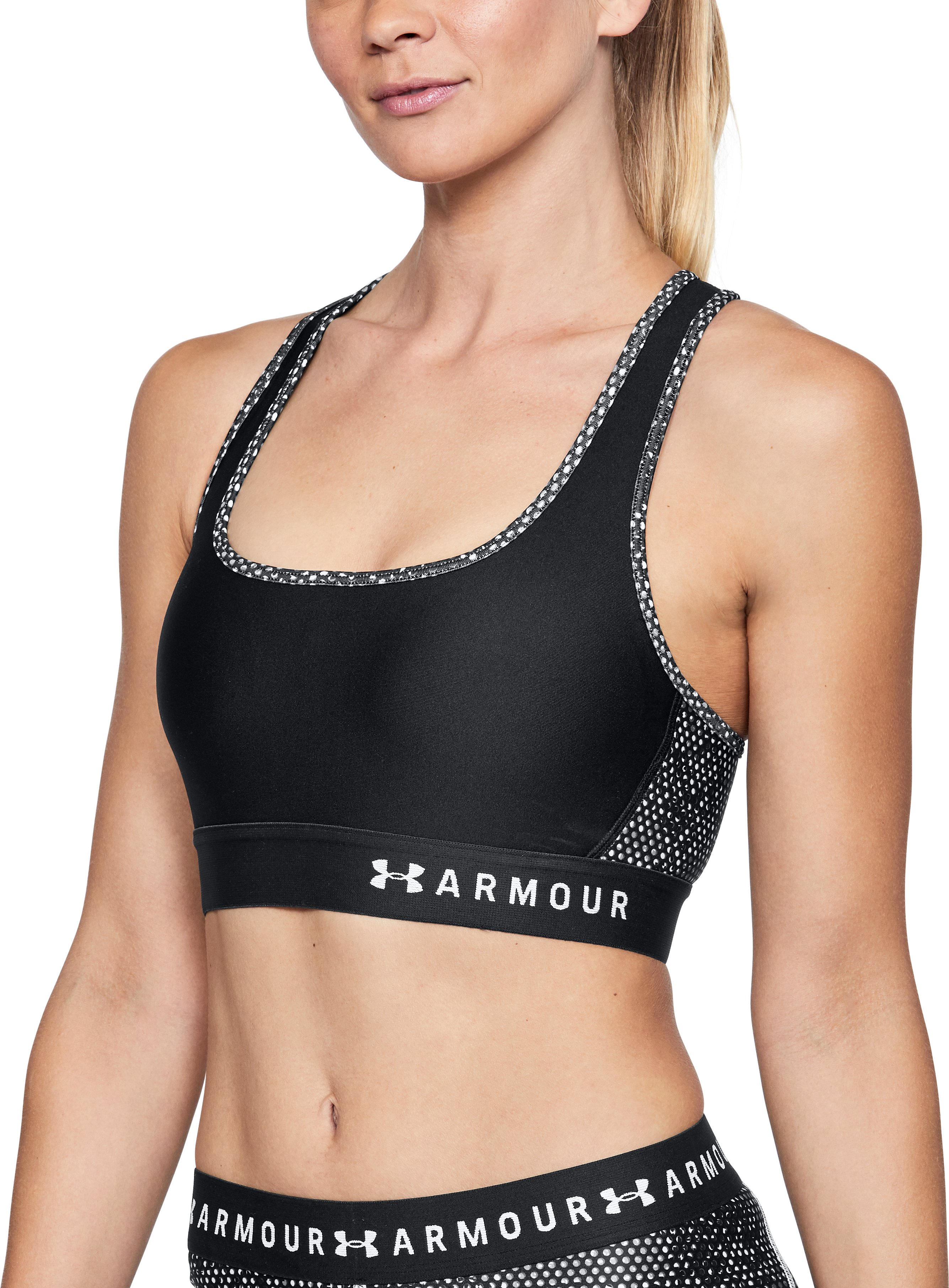 Women's Armour® Mid Crossback Print Sports Bra, Black ,
