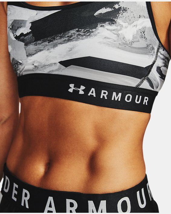 Women's Armour® Mid Crossback Print Sports Bra, Black, pdpMainDesktop image number 5