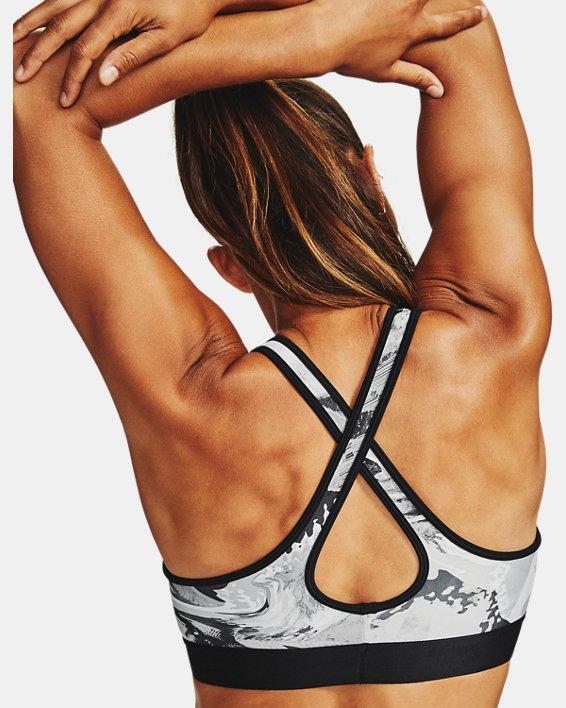 Women's Armour® Mid Crossback Print Sports Bra, Black, pdpMainDesktop image number 2
