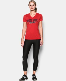 New Arrival Women's Boston Red Sox UA Tech™ V-Neck T-Shirt  1 Color $34.99