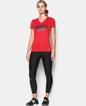 New to Outlet Women's Atlanta Braves UA Tech™ V-Neck T-Shirt  1 Color $24.99