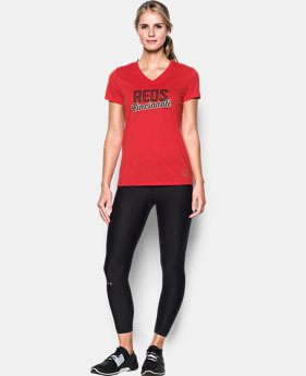 New Arrival Women's Cincinnati Reds UA Tech™ V-Neck T-Shirt  1 Color $34.99