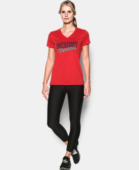 New Arrival Women's Cleveland Indians UA Tech™ V-Neck T-Shirt  1 Color $34.99