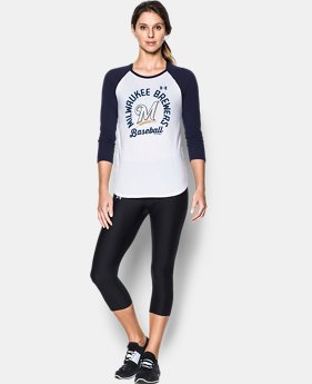 New Arrival Women's Milwaukee Brewers 3/4 Sleeve T-Shirt  1 Color $34.99