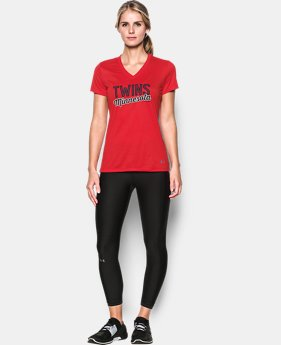 New Arrival Women's Minnesota Twins UA Tech™ V-Neck T-Shirt  1 Color $34.99
