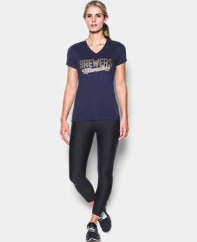 New Arrival Women's Milwaukee Brewers UA Tech™ V-Neck T-Shirt  1 Color $34.99