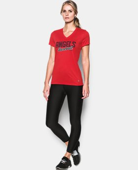 New Arrival Women's Los Angeles Angels UA Tech™ V-Neck T-Shirt  1 Color $34.99