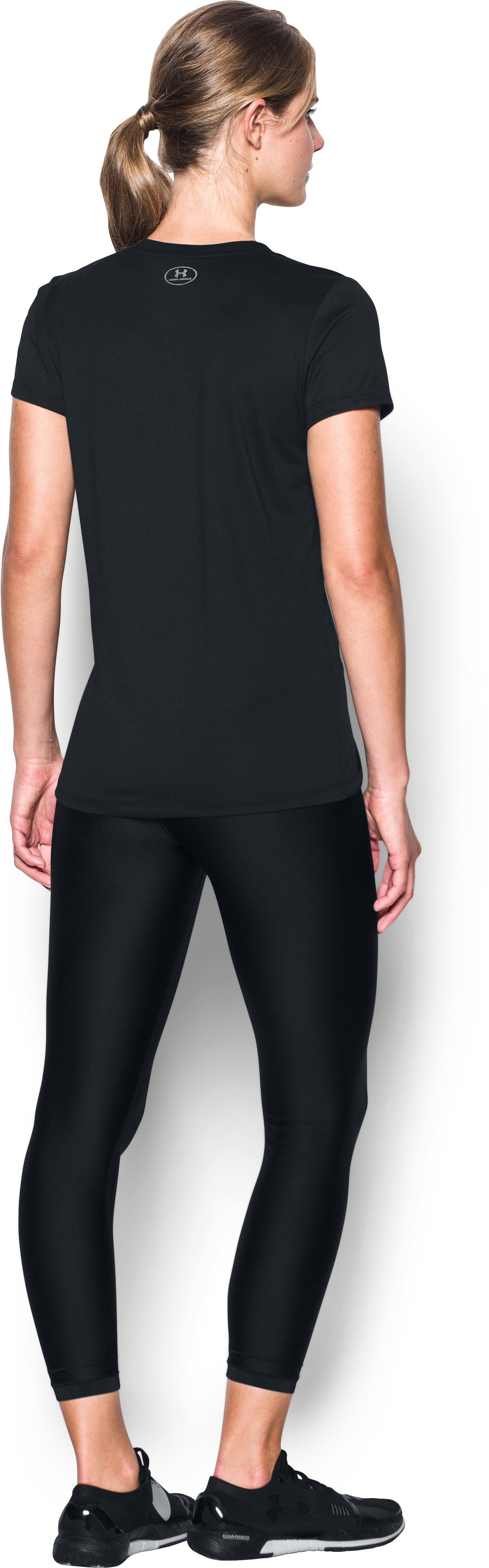 Women's Arizona Diamondbacks UA Tech™ V-Neck T-Shirt, Black , Back