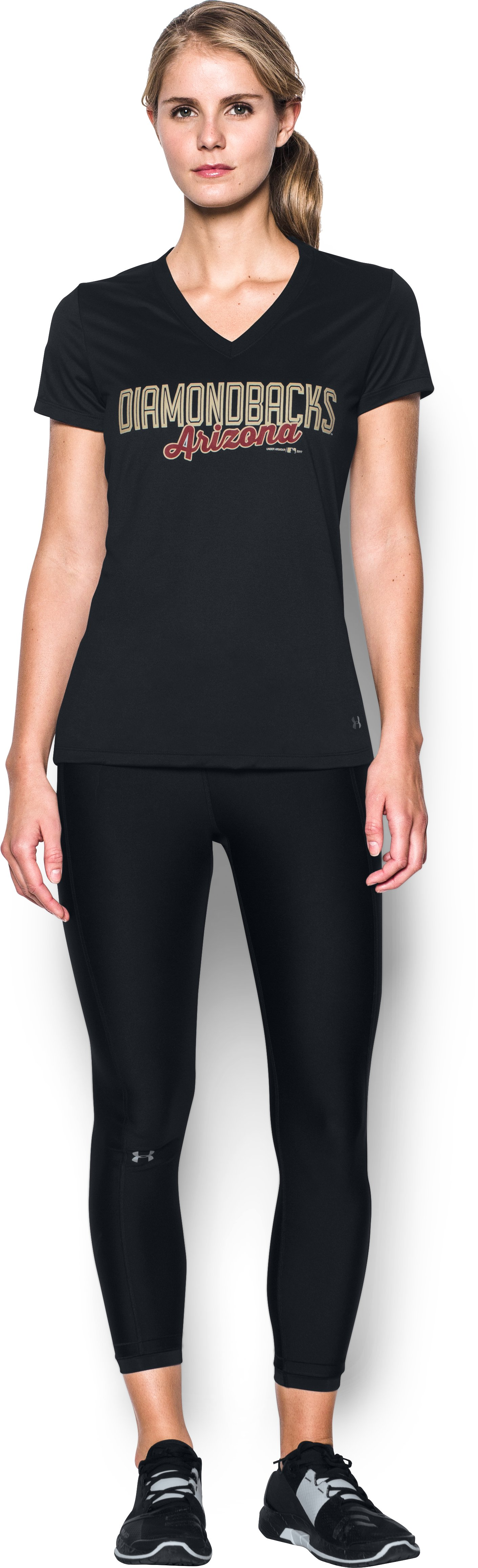 Women's Arizona Diamondbacks UA Tech™ V-Neck T-Shirt, Black , Front