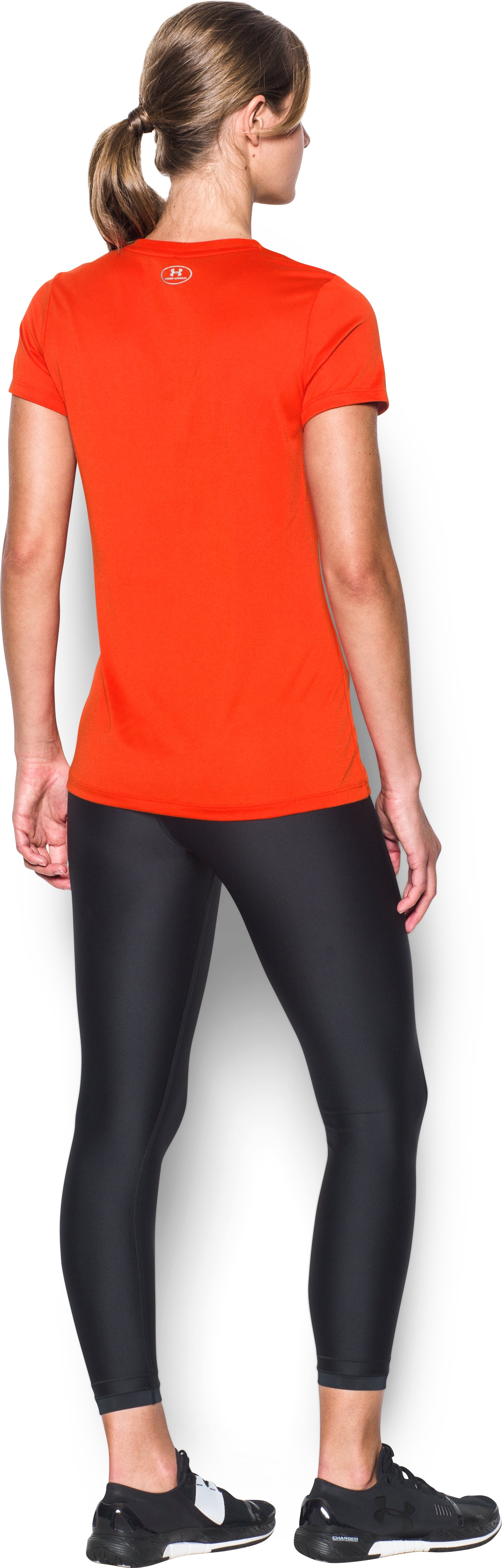 Women's Miami Marlins UA Tech™ V-Neck T-Shirt, Dark Orange, Back
