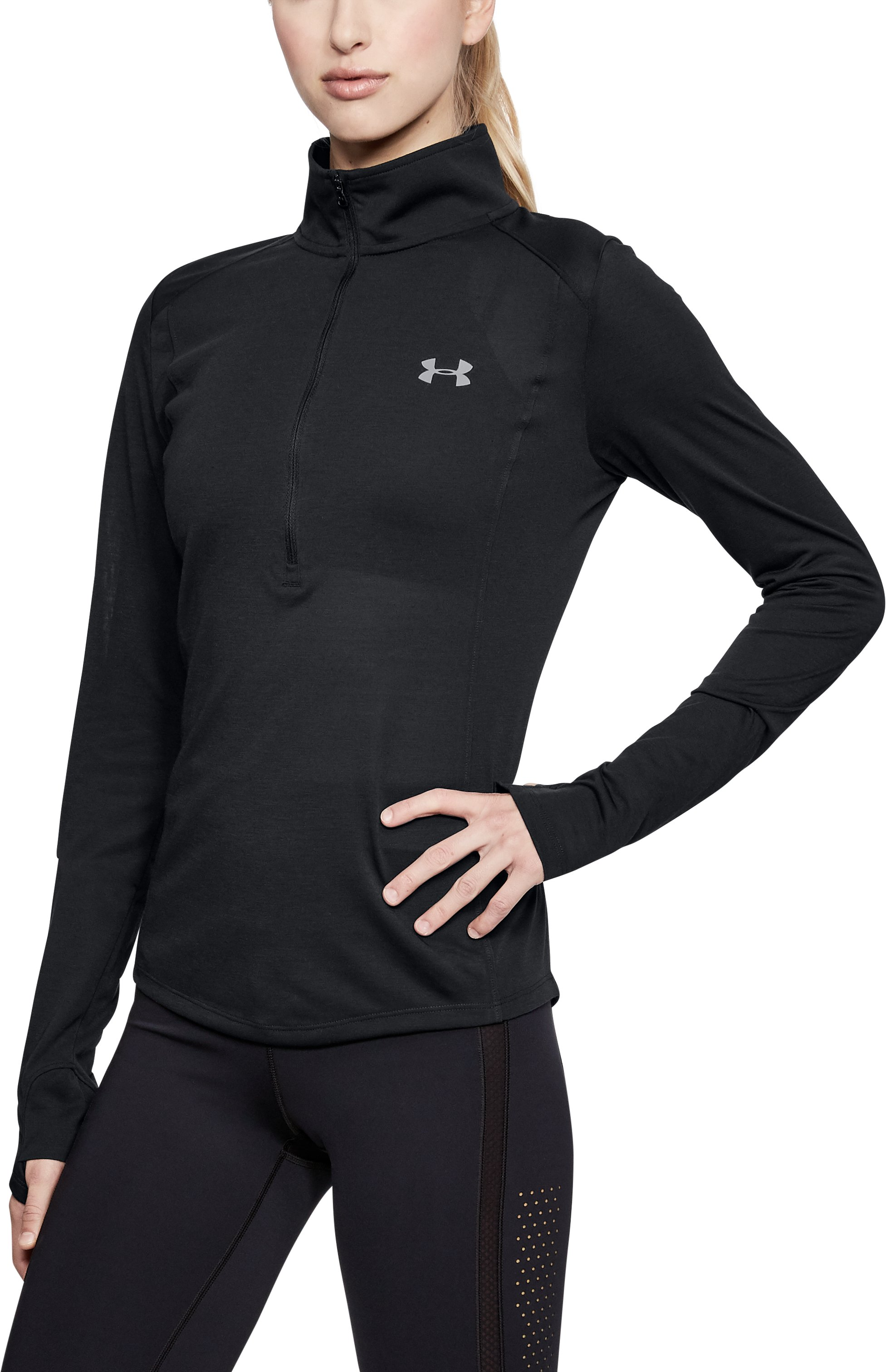 Women's UA Threadborne™ ½ Zip, Black ,