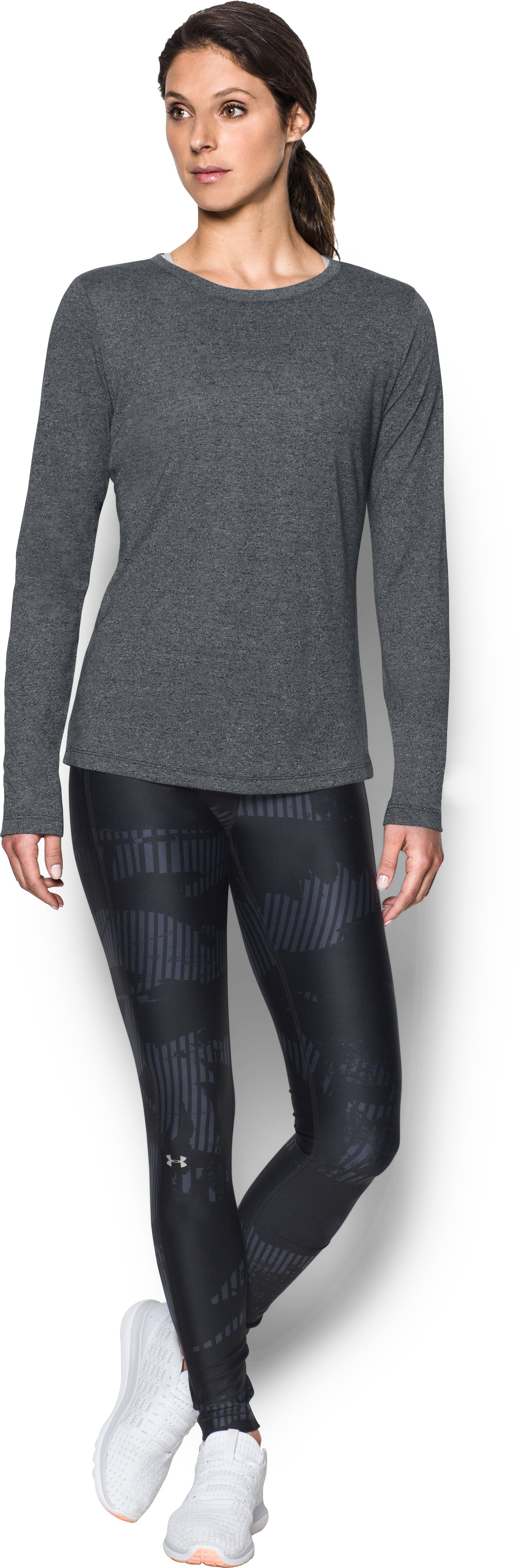 Women's UA Threadborne™ Twist Long Sleeve Crew, Black , Front