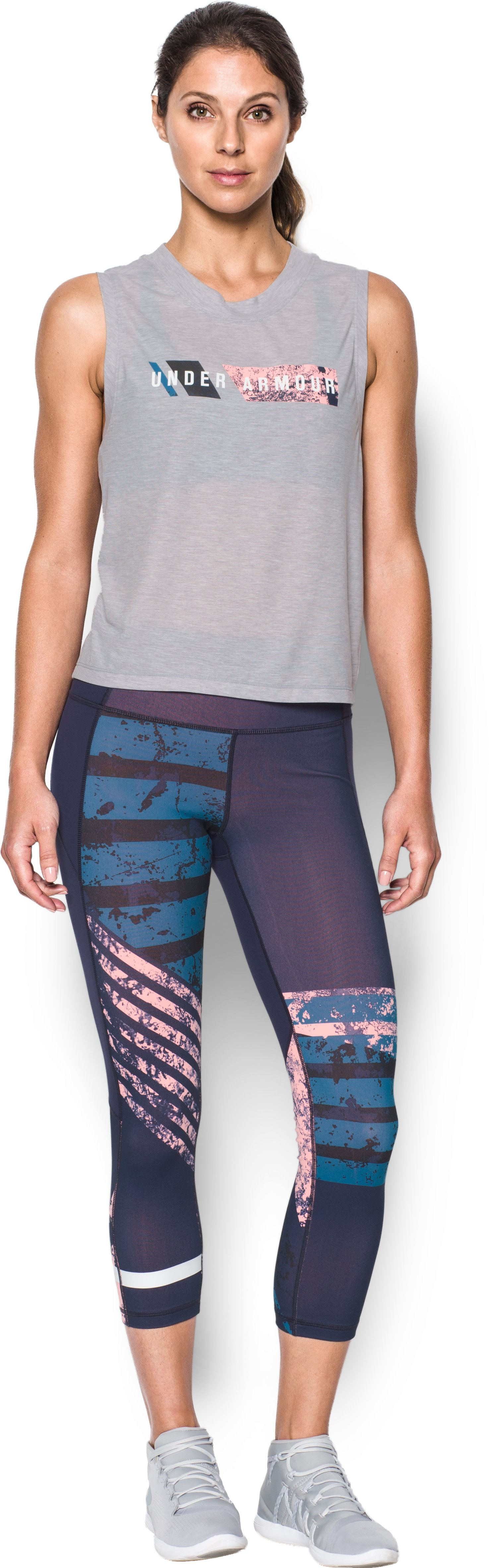 Women's UA Breathe Muscle Wordmark, True Gray Heather, Front