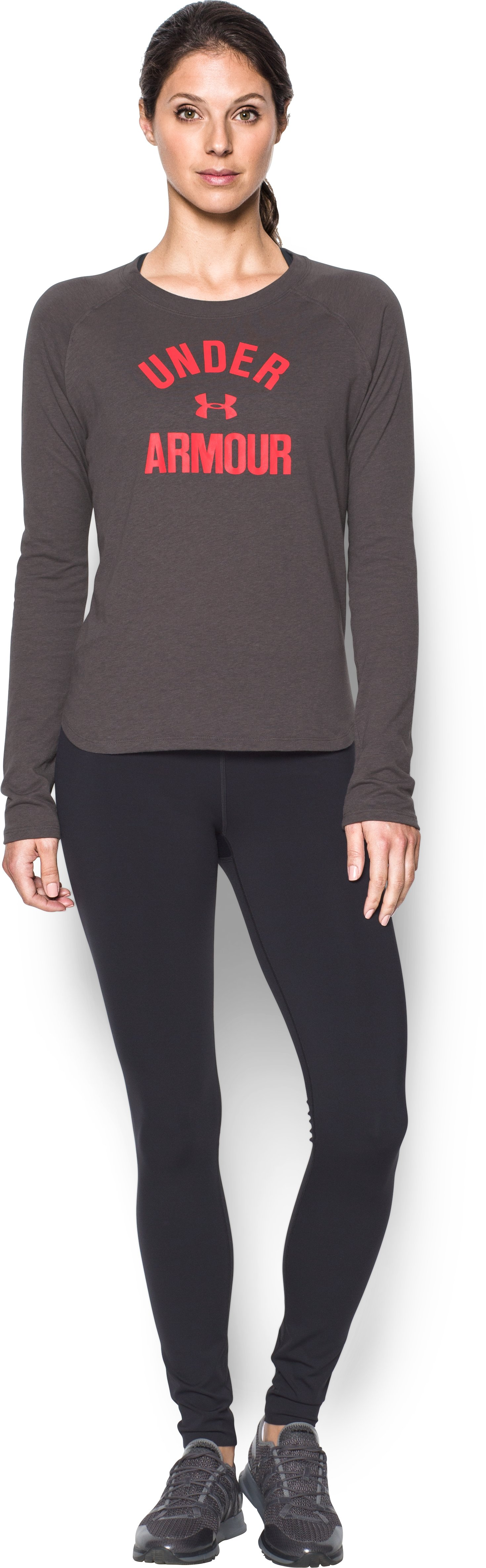 Women's UA Charged Cotton® Tri-Blend Graphic Long Sleeve, CHARCOAL LIGHT HEATHER, Front