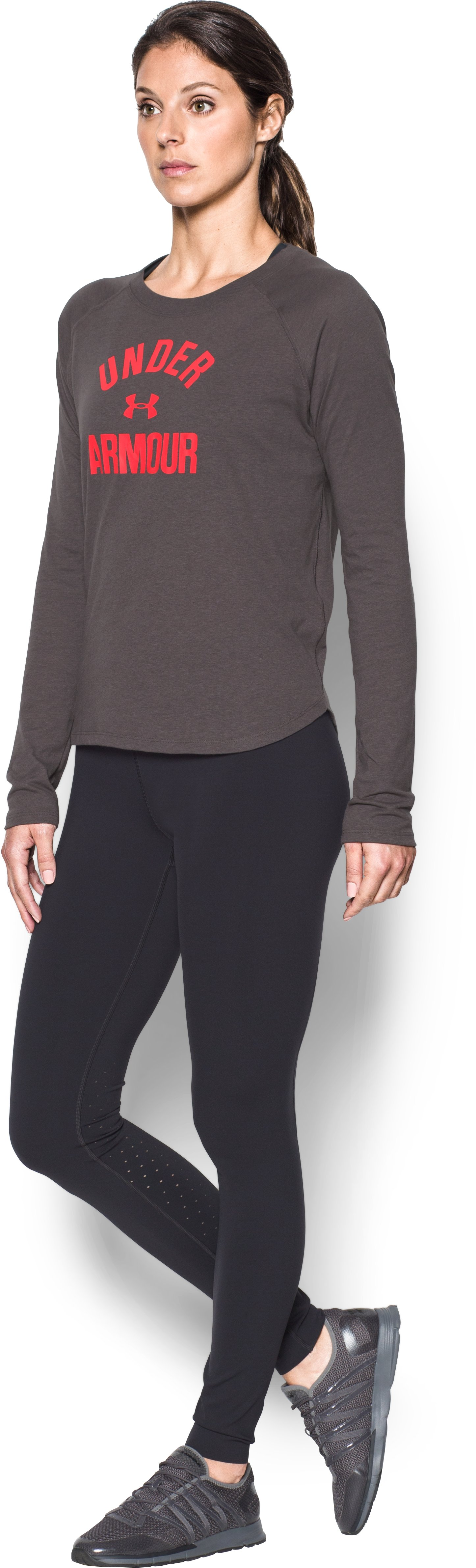 Women's UA Charged Cotton® Tri-Blend Graphic Long Sleeve, CHARCOAL LIGHT HEATHER, undefined