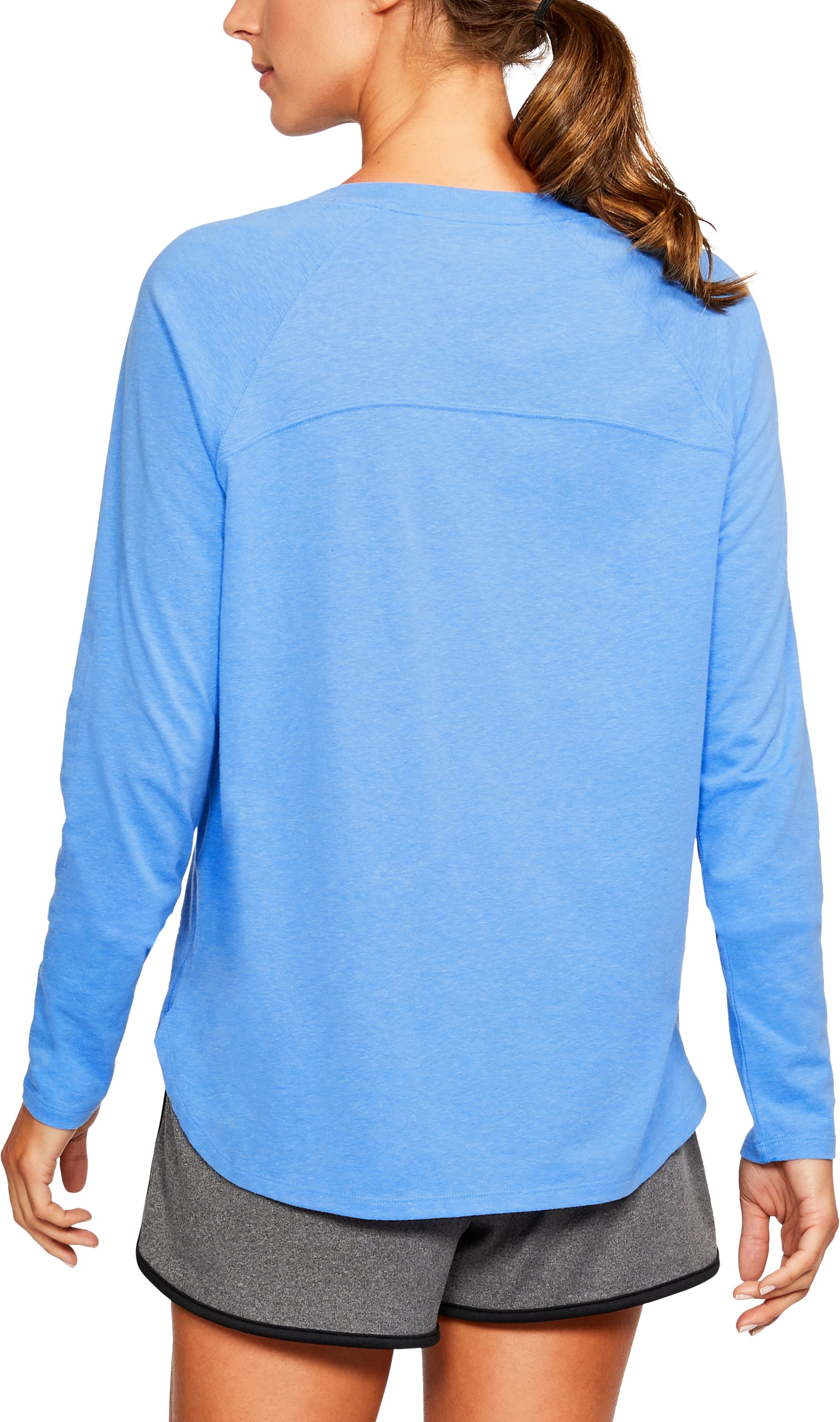 Women's UA Charged Cotton® Tri-Blend Graphic Long Sleeve, MAKO BLUE LIGHT HEATHER,