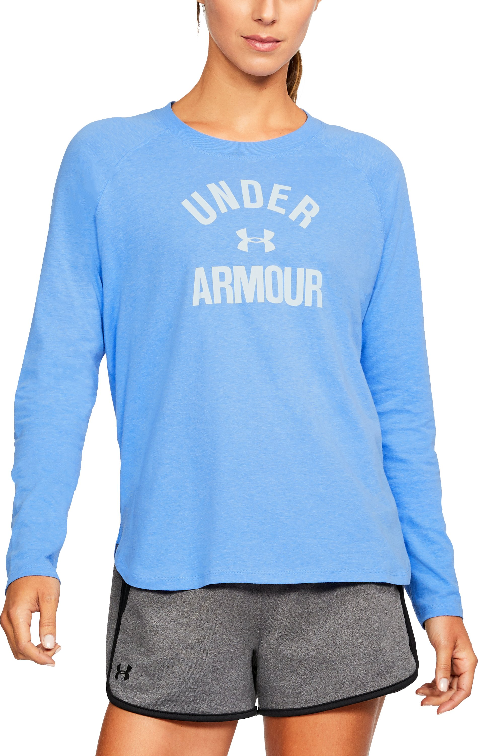 Women's UA Charged Cotton® Tri-Blend Graphic Long Sleeve, MAKO BLUE LIGHT HEATHER