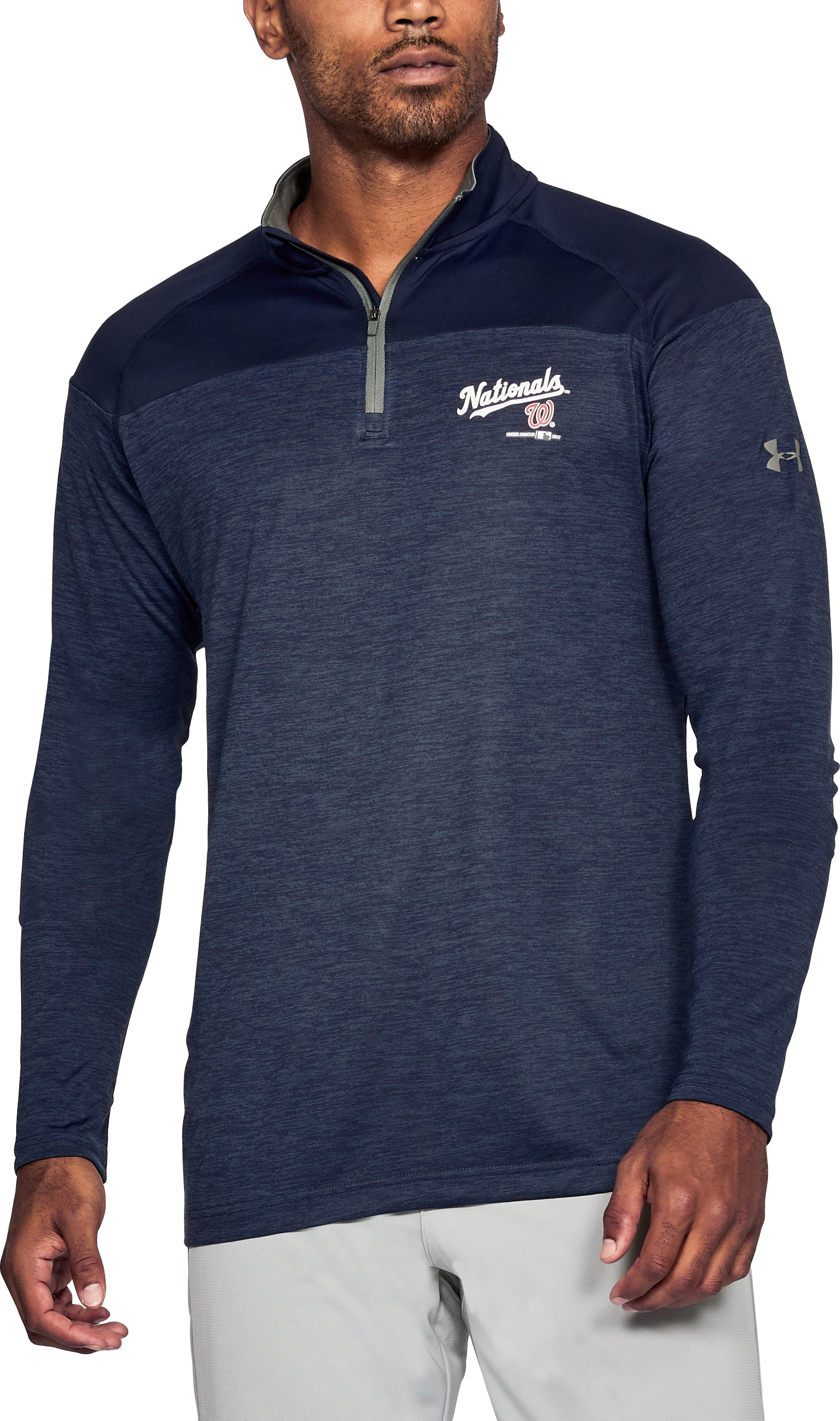 Men's Washington Nationals UA Tech™ ¼ Zip, Midnight Navy, undefined