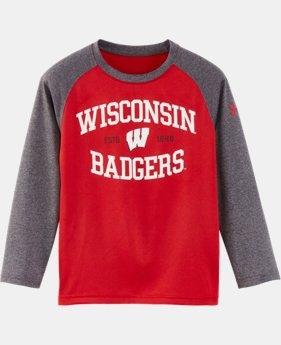 New Arrival Boys' Pre-School Wisconsin UA Arch Logo Raglan Long Sleeve Shirt  1 Color $27