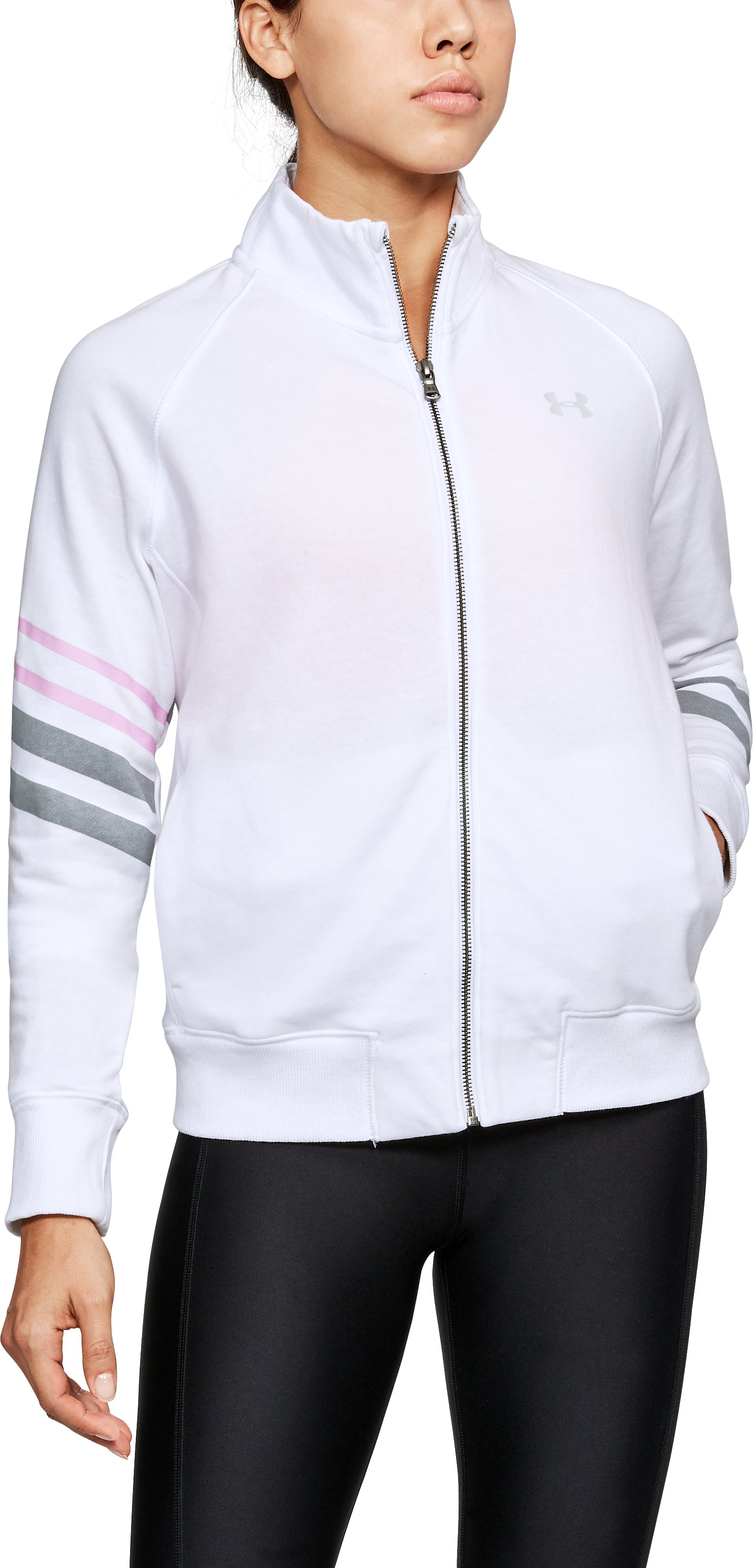 Women's UA French Terry Warm-Up Jacket, White