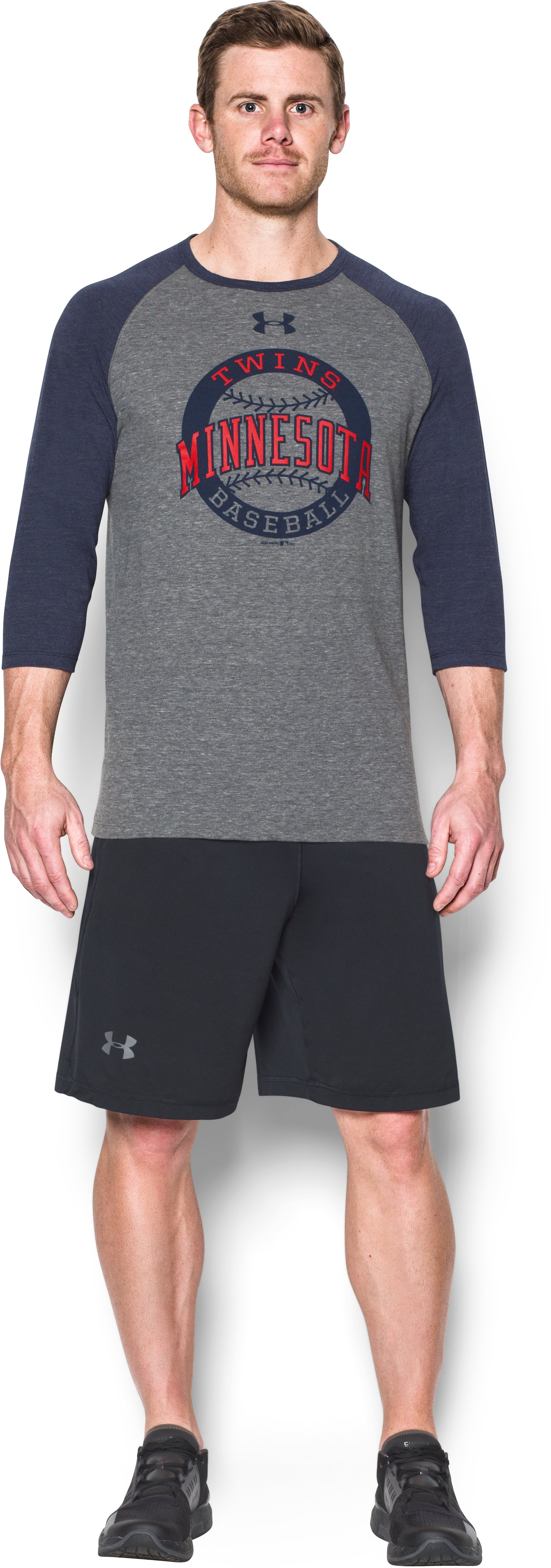 Men's Twins ¾ Sleeve T-Shirt, Midnight Navy, Front