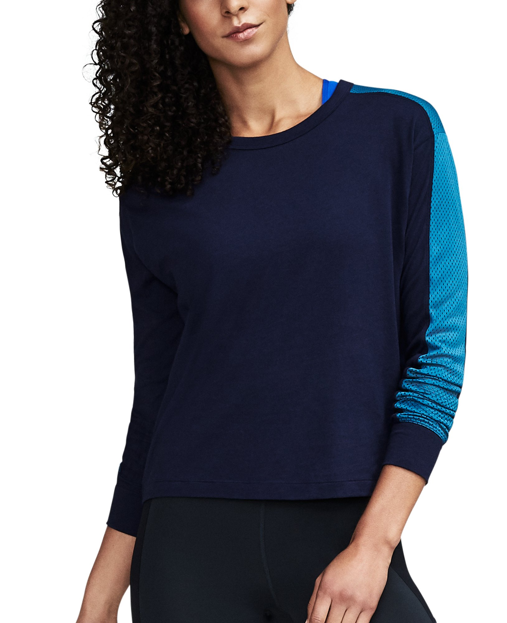 Women's UA Favorite Mesh Graphic Long Sleeve, Midnight Navy, undefined
