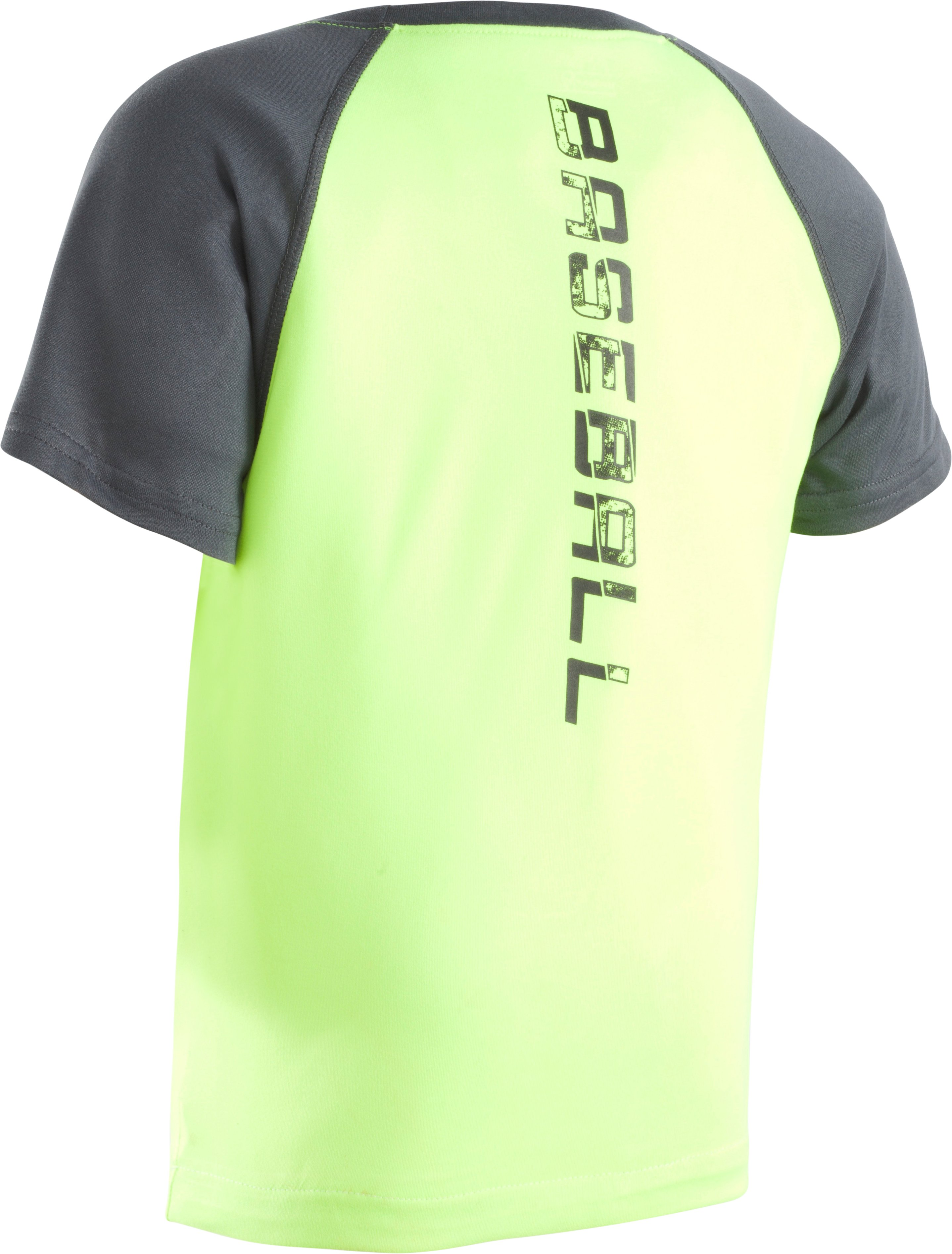 Boys' Pre-School UA Home Plate Logo Raglan Short Sleeve T-Shirt, FUEL GREEN