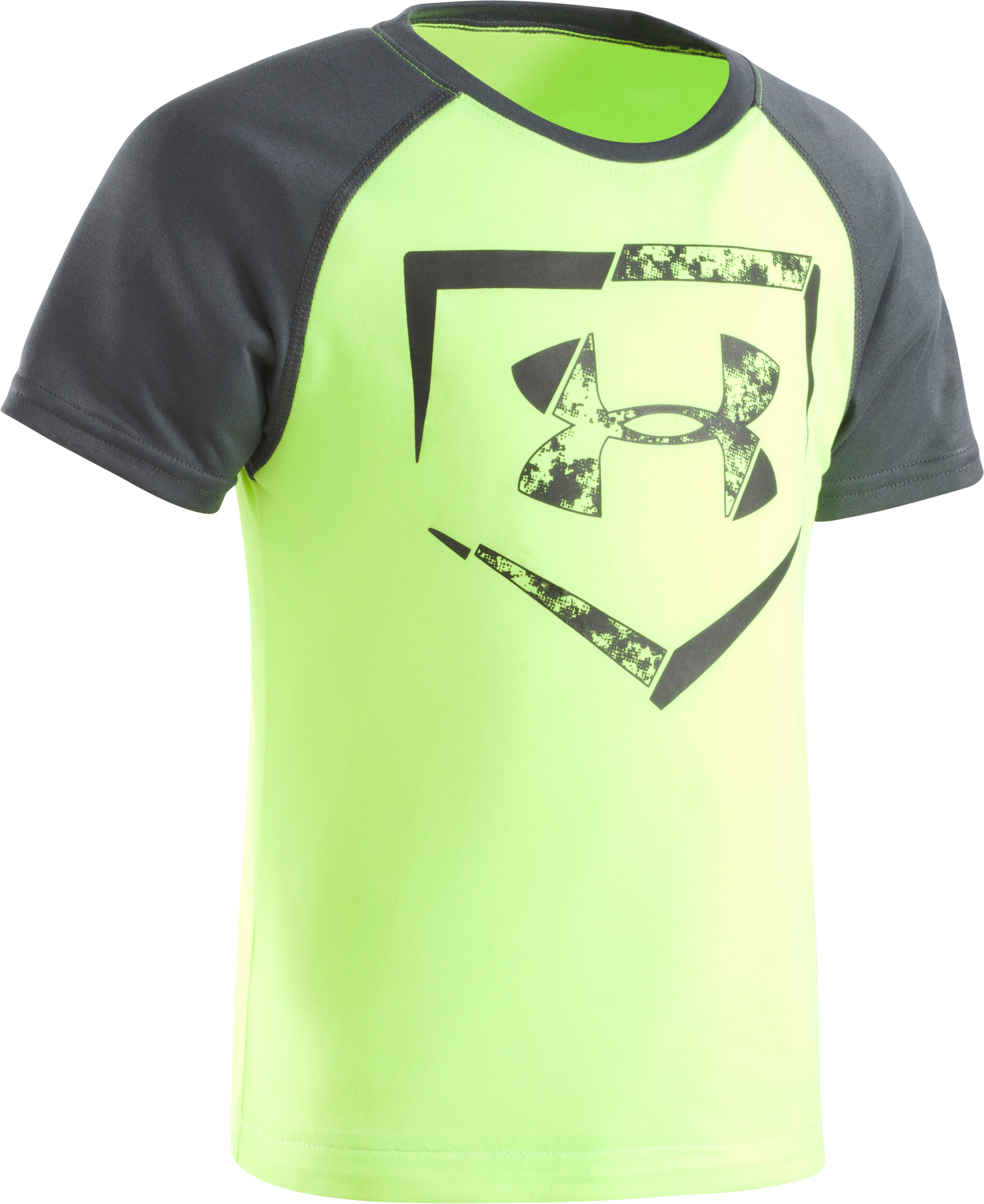 Boys' Pre-School UA Home Plate Logo Raglan Short Sleeve T-Shirt, FUEL GREEN, Laydown