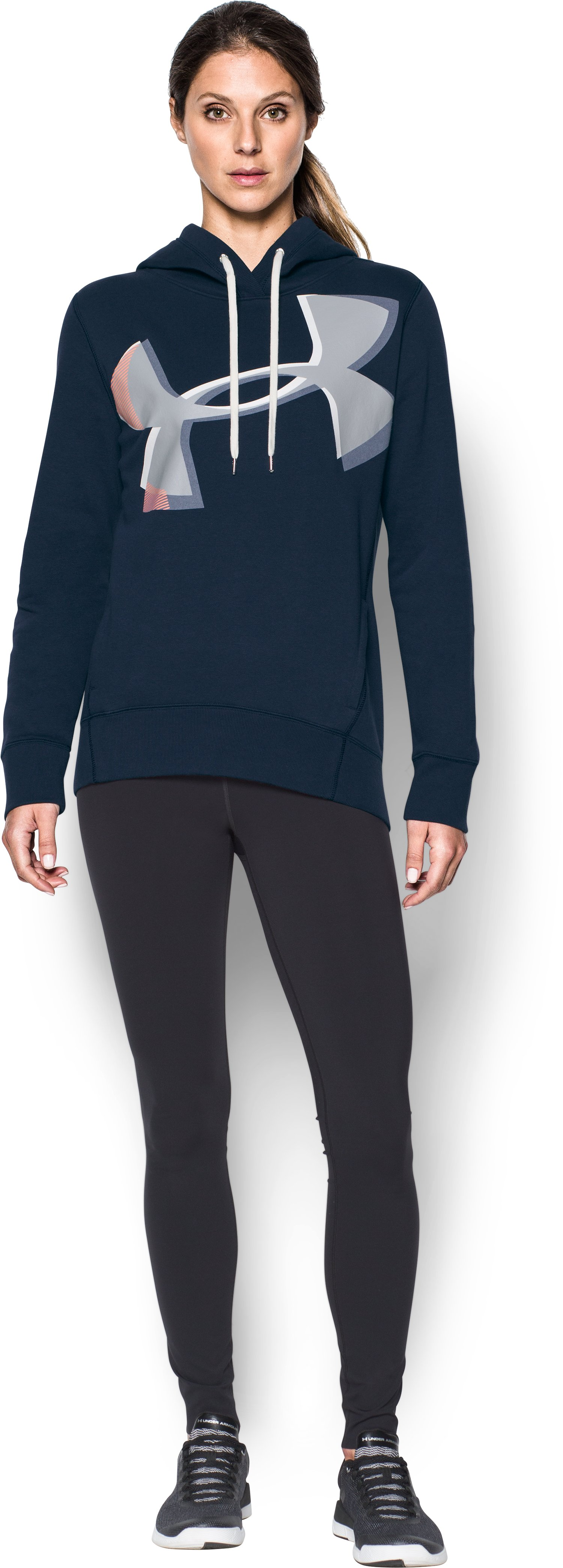 Women's UA Favorite Fleece Exploded Logo Pullover, Midnight Navy, Front