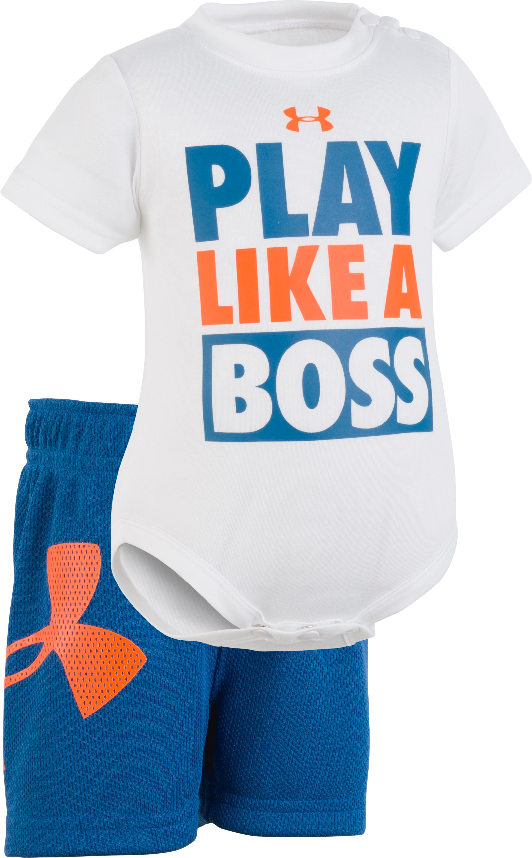 Boys' Newborn UA Play Like A Boss Set, White, Laydown