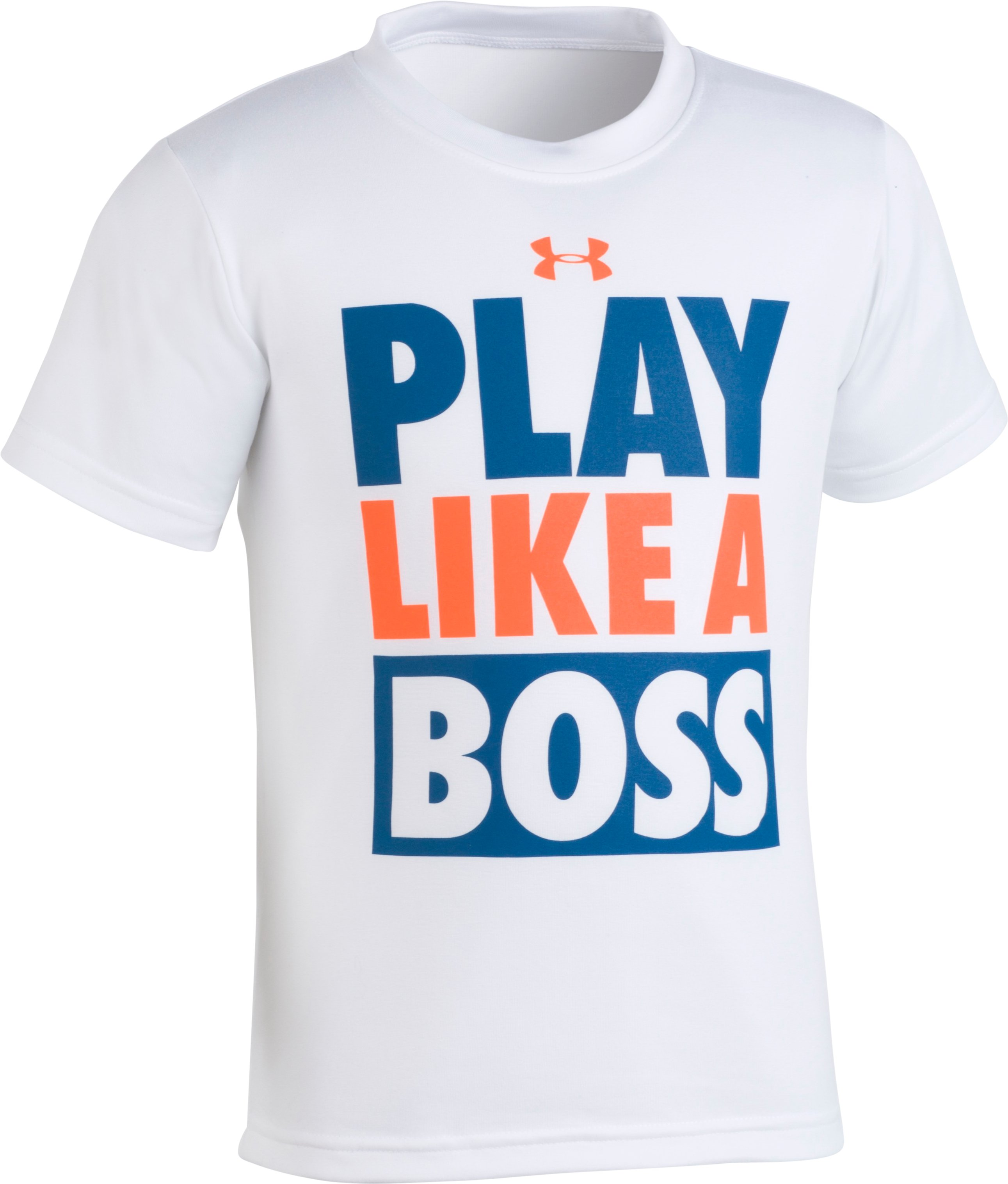 Boys' Pre-School UA Play Like A Boss Short Sleeve Shirt, White, Laydown