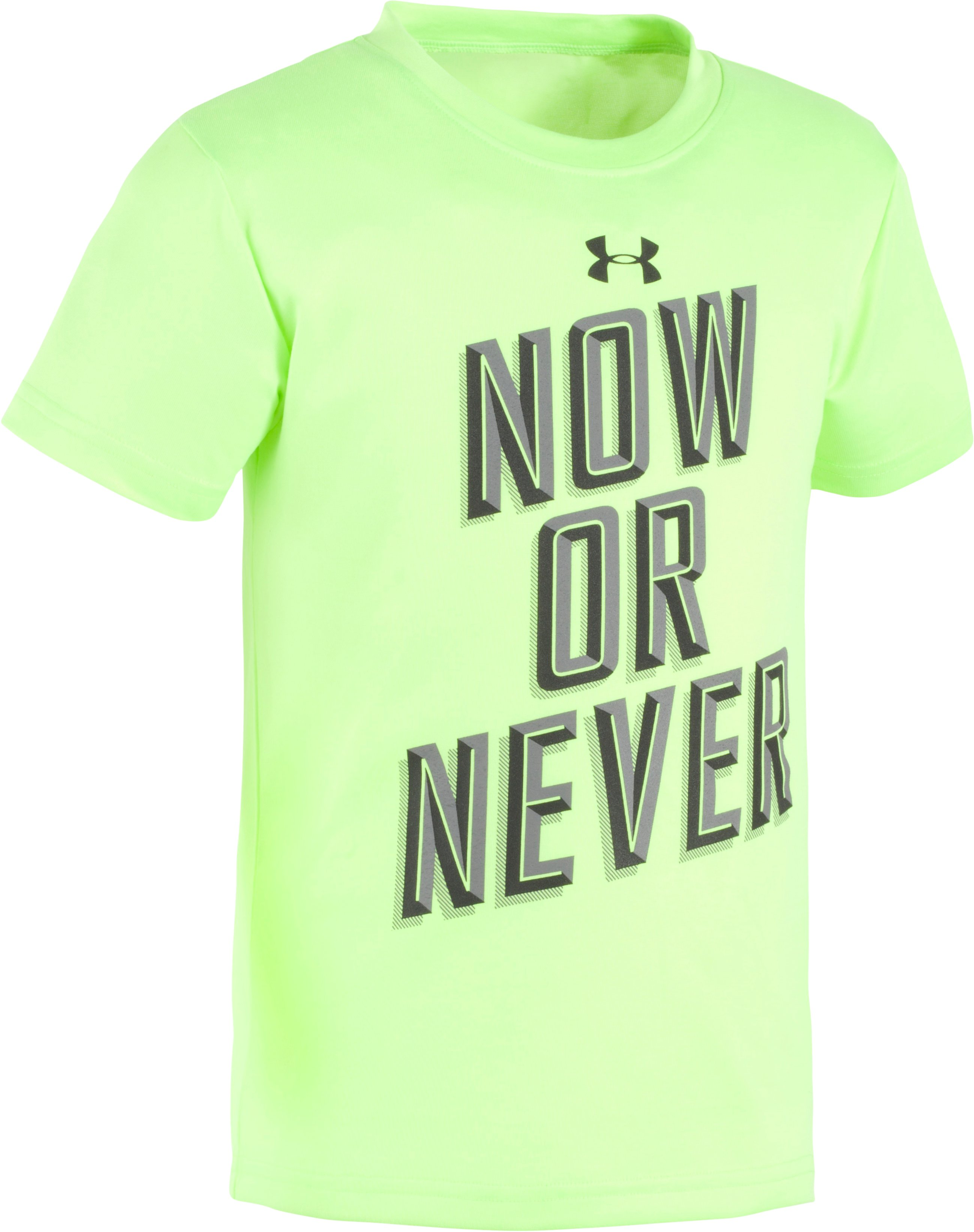 Boys' Pre-School UA Now Or Never Short Sleeve Shirt, FUEL GREEN, Laydown